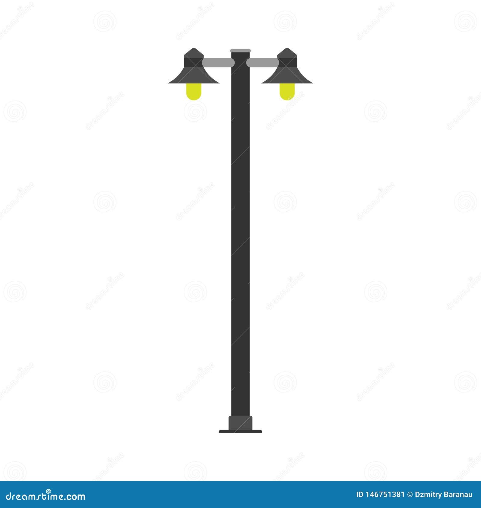 Ícone do vetor da luz de poder da arquitetura da rua do cargo da lâmpada Lanterna da cidade do equipamento da iluminação da energ