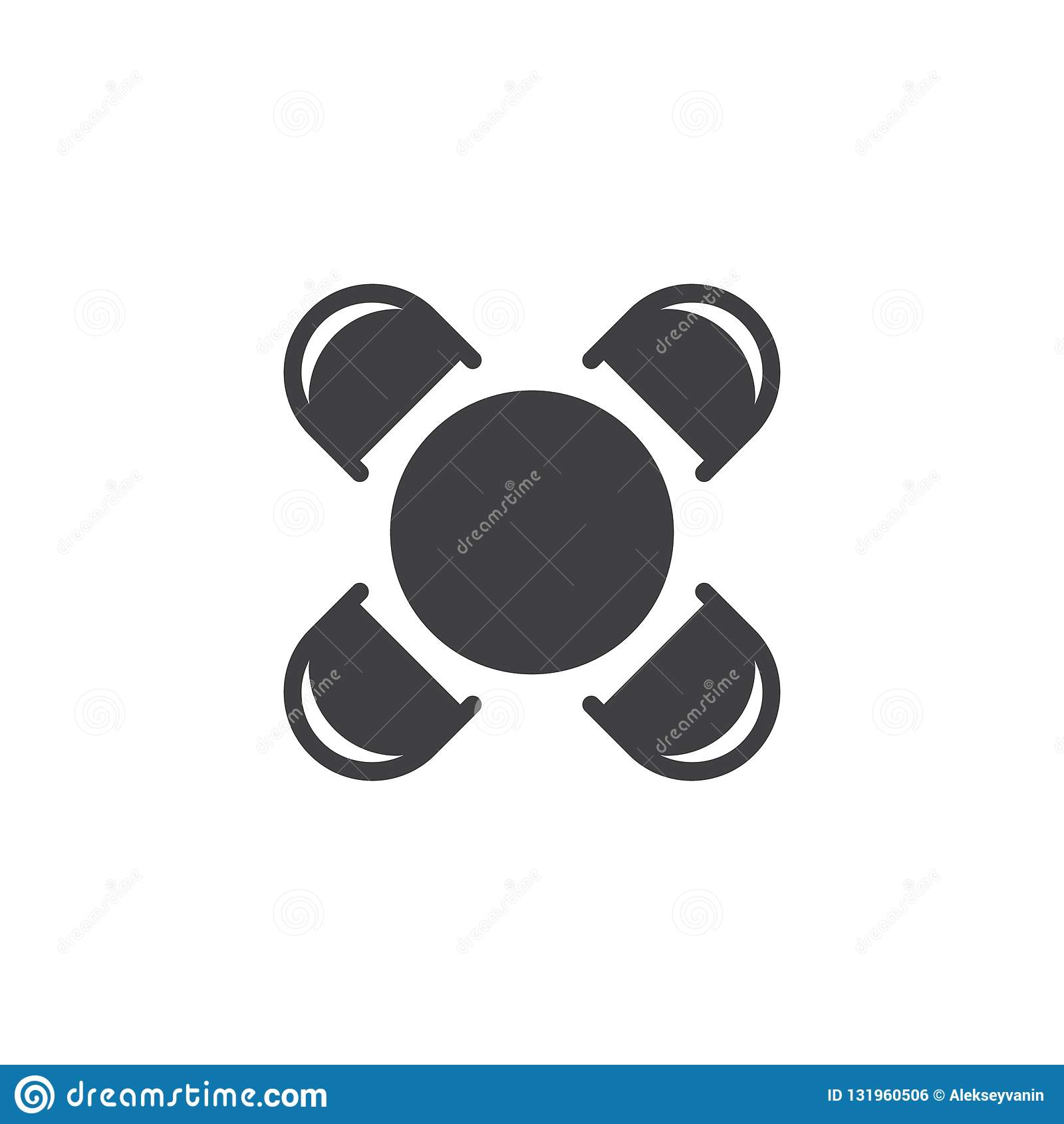 Ícone do vetor da mesa redonda e da opinião superior das cadeiras