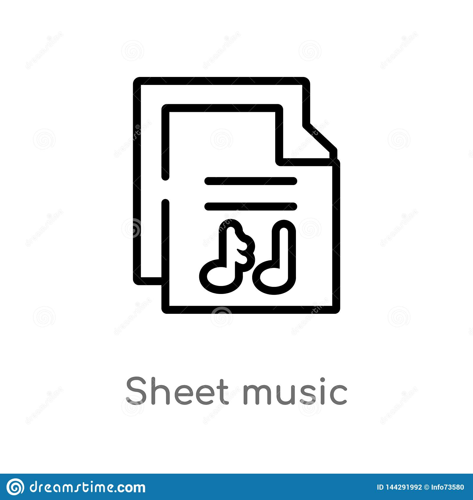 ícone do vetor da partitura do esboço linha simples preta isolada ilustra??o do elemento do conceito da m?sica folha editável do