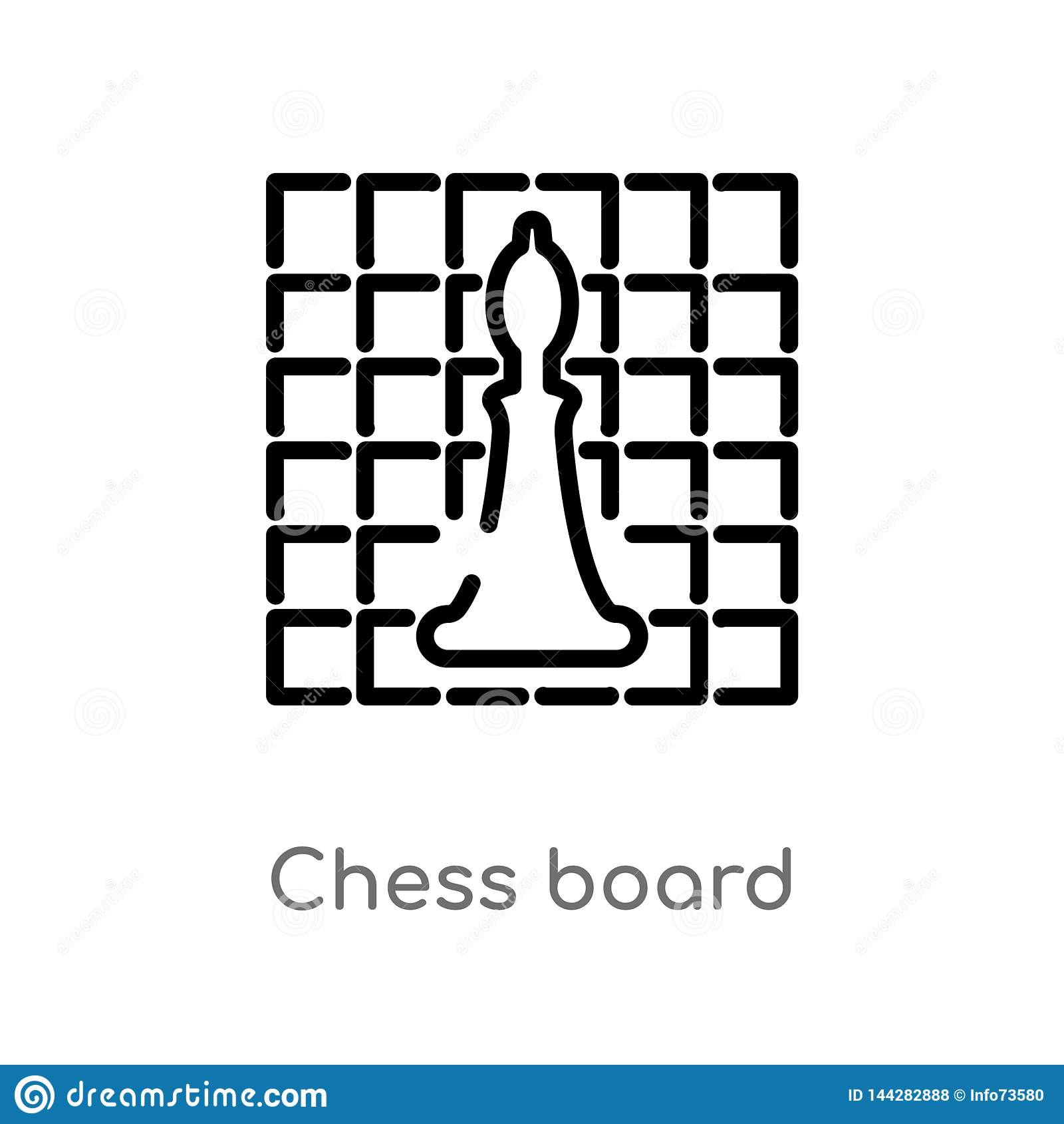 ?cone do vetor da placa de xadrez do esbo?o linha simples preta isolada ilustra??o do elemento do conceito dos passatempos Curso
