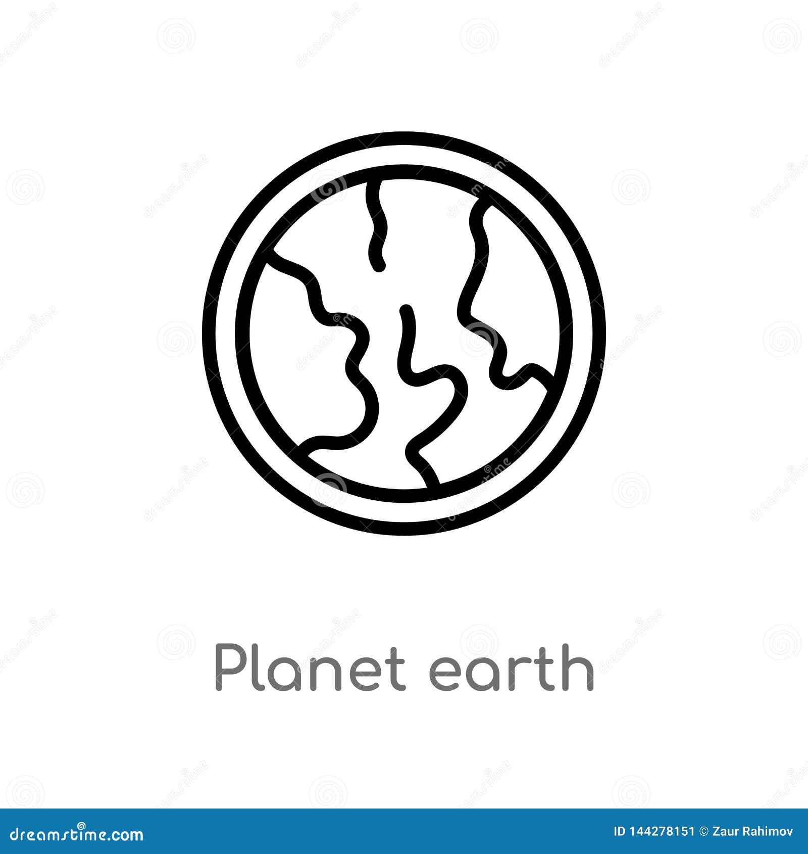 ícone do vetor da terra do planeta do esboço linha simples preta isolada ilustra??o do elemento da entrega e do conceito log?stic