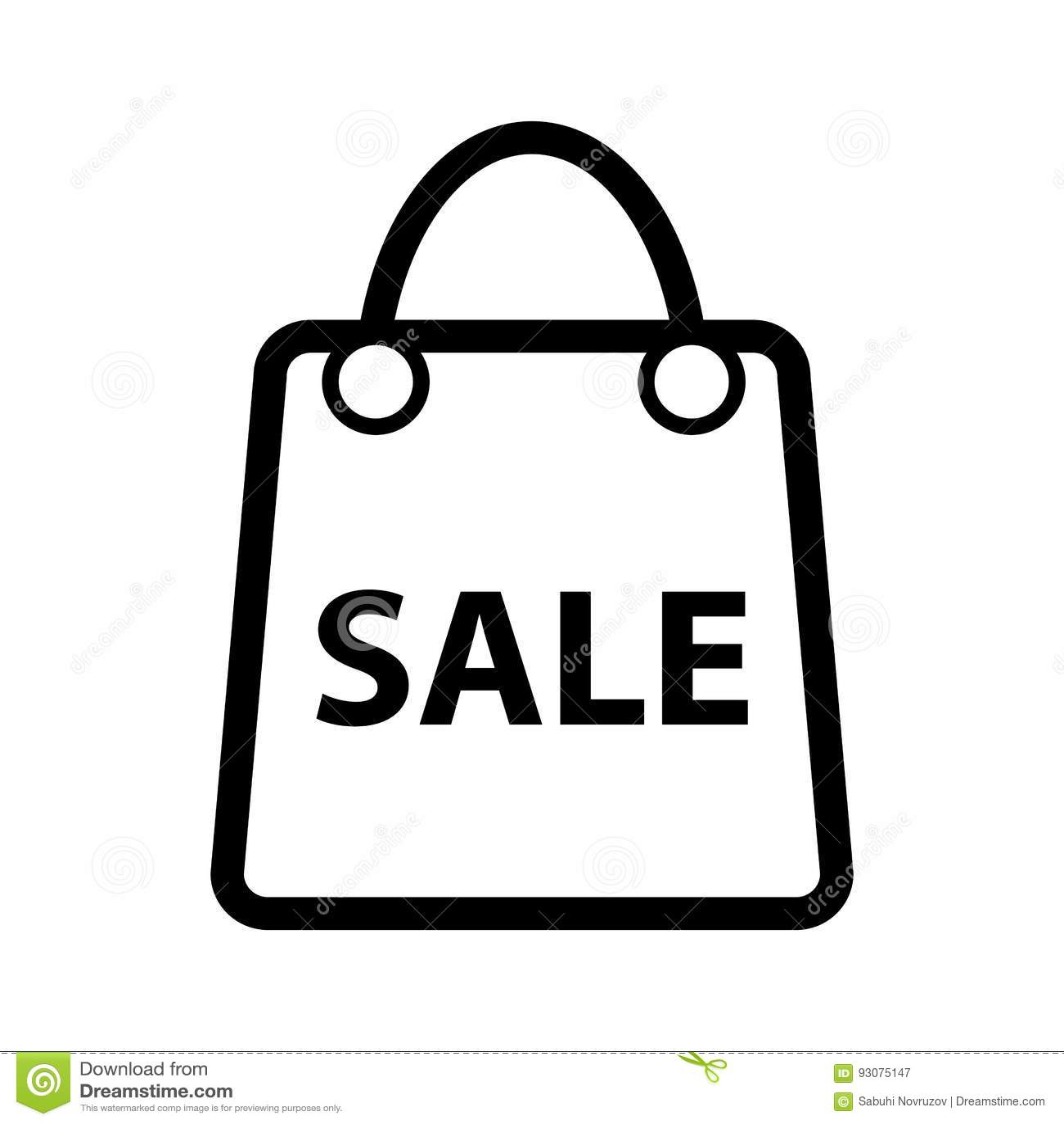 Ícone do vetor da venda da compra Ícone preto e branco do saco para anunciar a ilustração dos discontos Ícone da compra do esboço