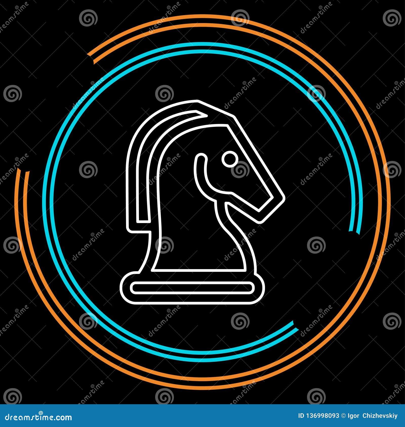 Ícone do vetor da xadrez do cavalo Cavalo do jogo de xadrez