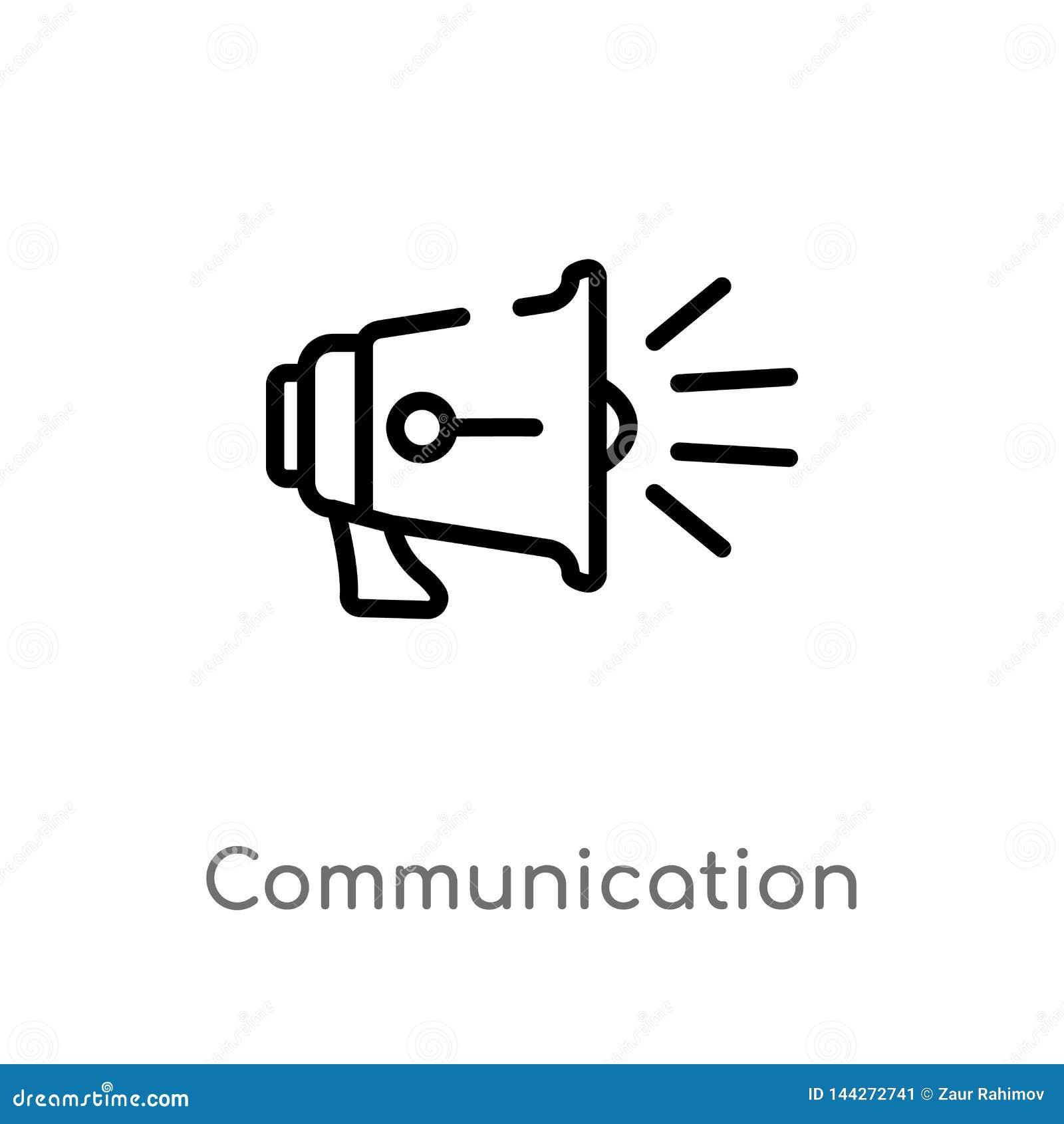 ícone do vetor de uma comunicação do esboço linha simples preta isolada ilustra??o do elemento do conceito do blogger e do influe