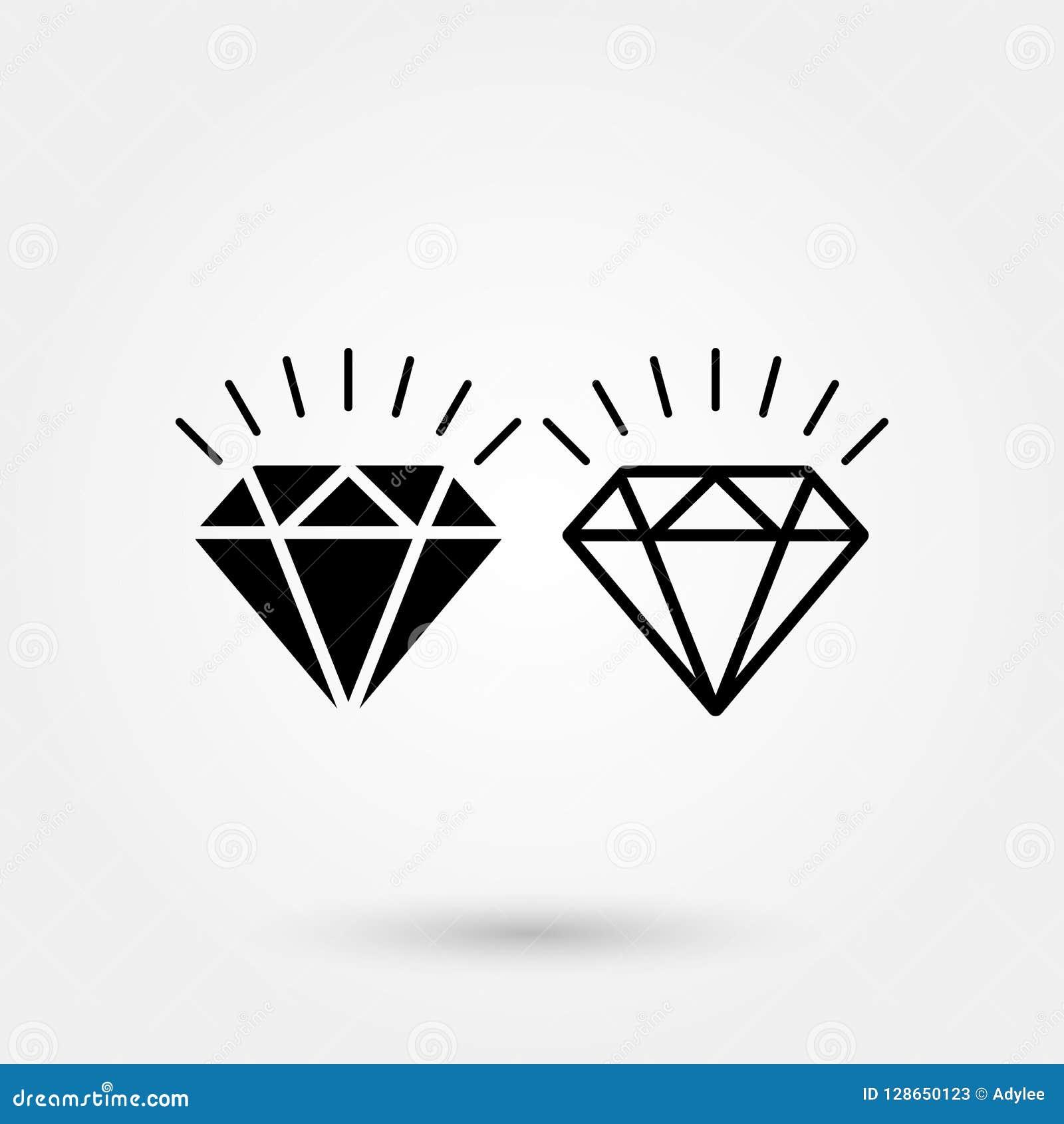 Ícone do vetor do diamante da ilustração do ícone do vetor do brilho do diamante