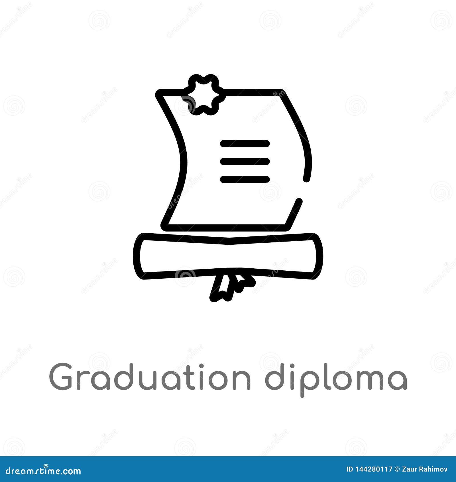 ?cone do vetor do diploma da gradua??o do esbo?o linha simples preta isolada ilustra??o do elemento do conceito da educa??o Vetor