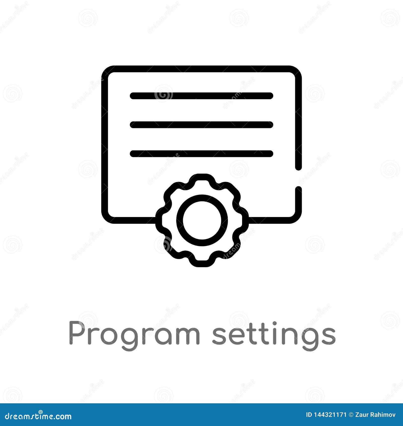 ícone do vetor dos ajustes do programa de esboço linha simples preta isolada ilustração do elemento do conceito das ferramentas e