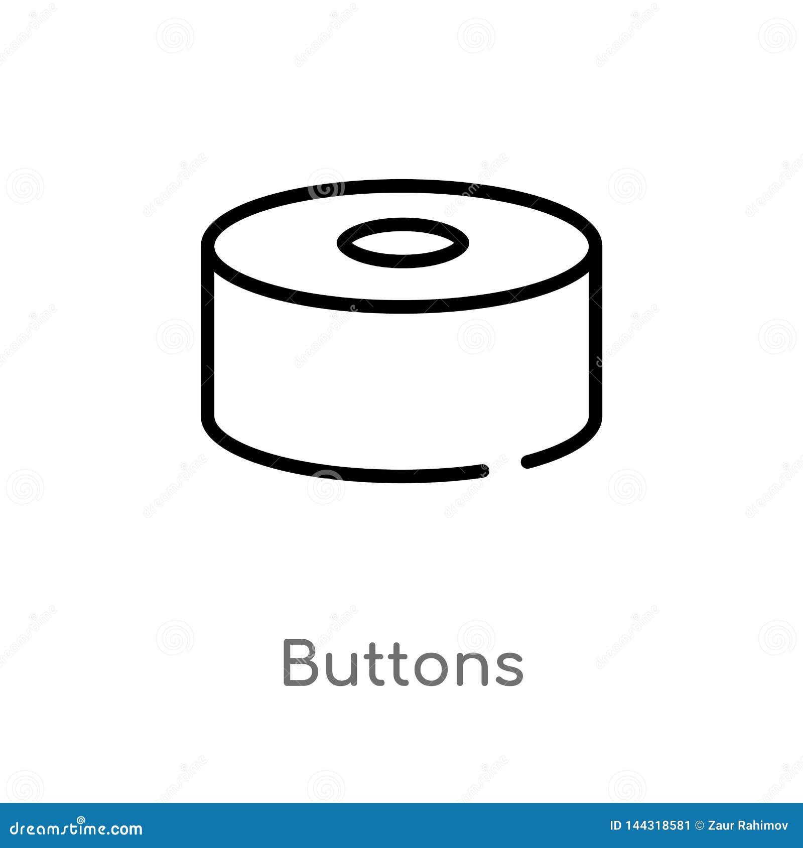 ícone do vetor dos botões do esboço linha simples preta isolada ilustração do elemento do conceito social botões editáveis do cur