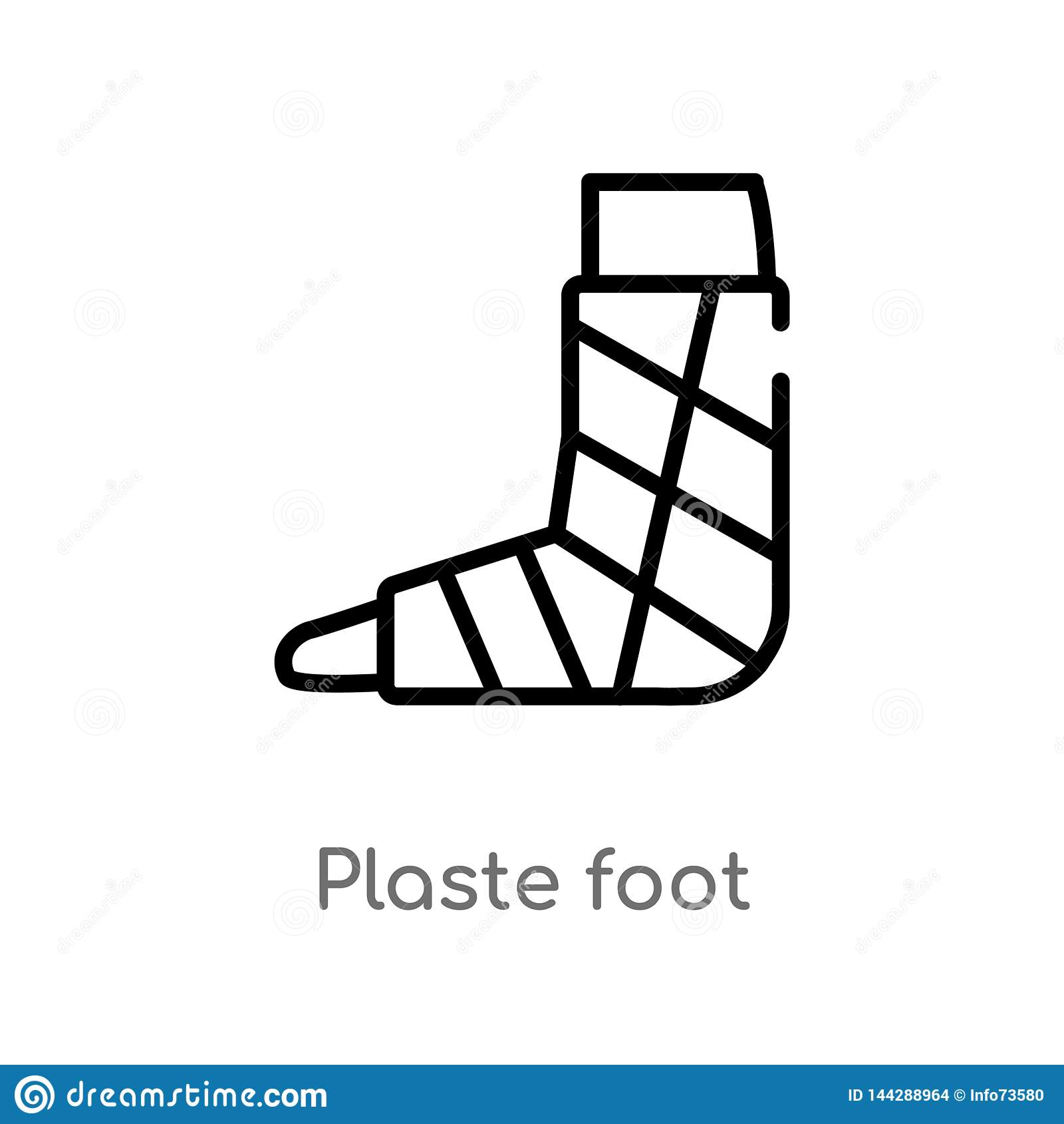 ícone do vetor do pé do plaste do esboço linha simples preta isolada ilustração do elemento do conceito médico Curso editável do