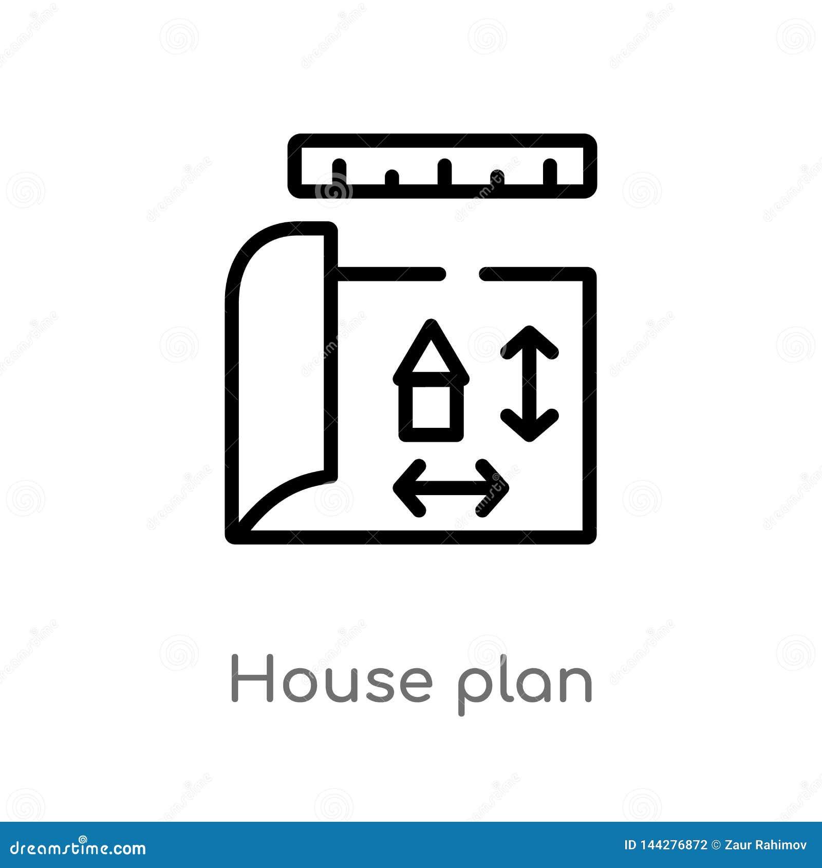 ícone do vetor do plano da casa do esboço linha simples preta isolada ilustra??o do elemento do conceito da constru??o Curso edit