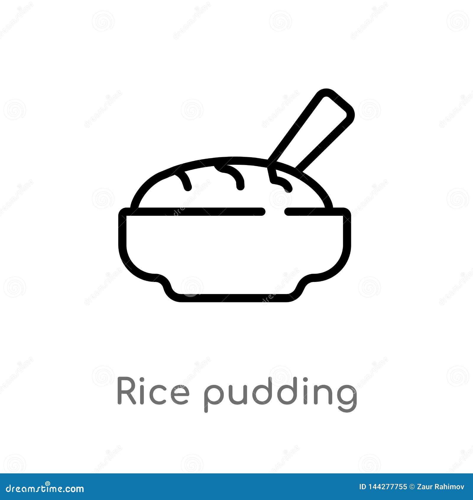 ícone do vetor do pudim de arroz do esboço linha simples preta isolada ilustração do elemento do conceito da cultura Curso editáv