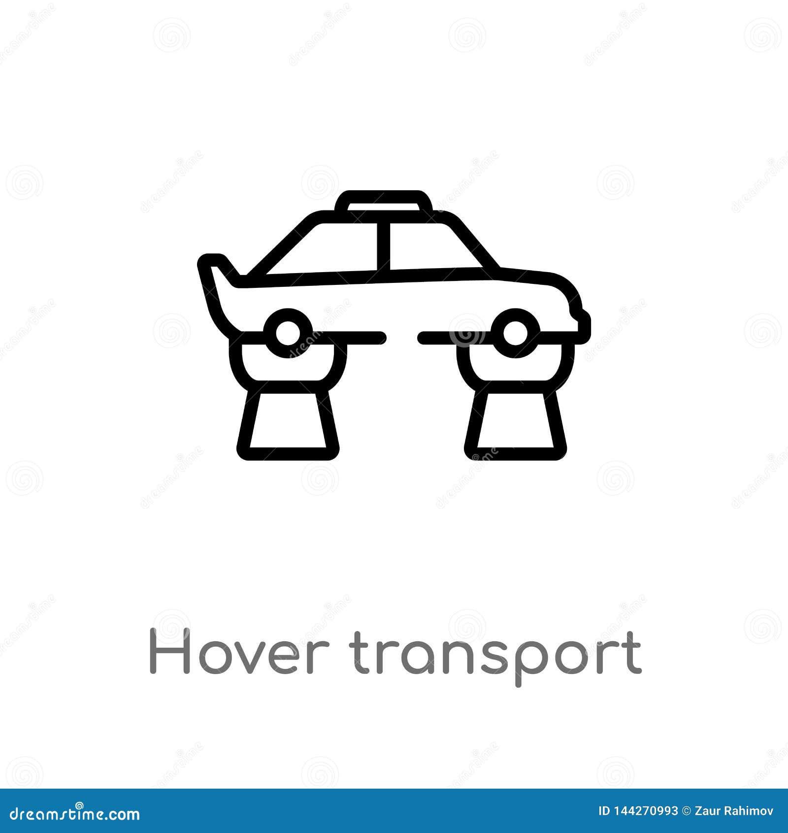 ícone do vetor do transporte do pairo do esboço linha simples preta isolada ilustração do elemento do conceito artificial do inte