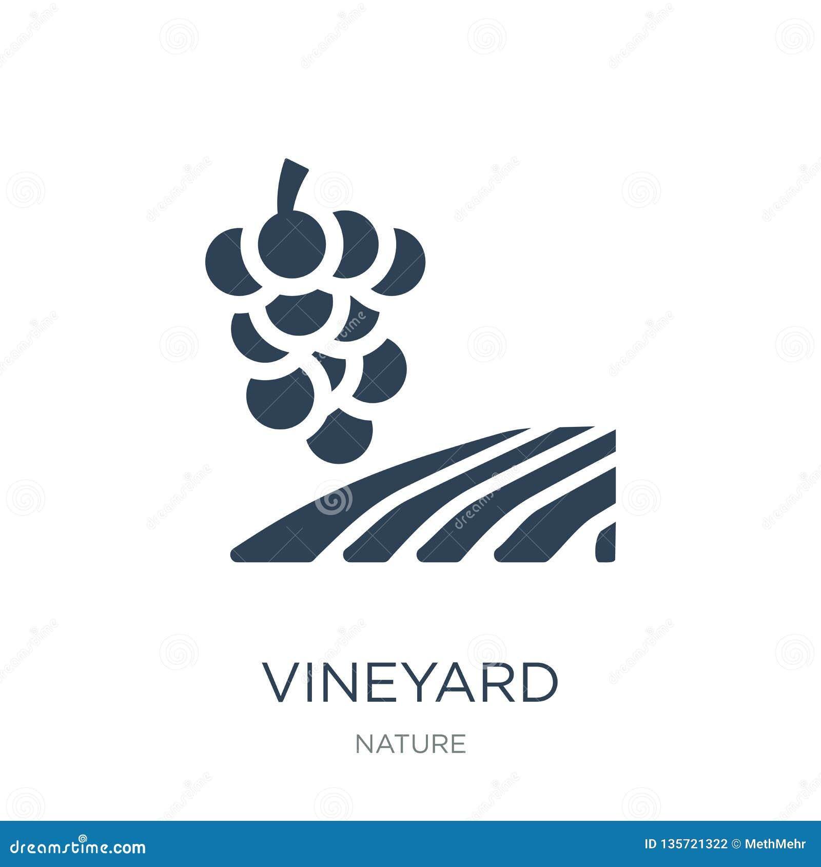 ícone do vinhedo no estilo na moda do projeto ícone do vinhedo isolado no fundo branco plano simples e moderno do ícone do vetor