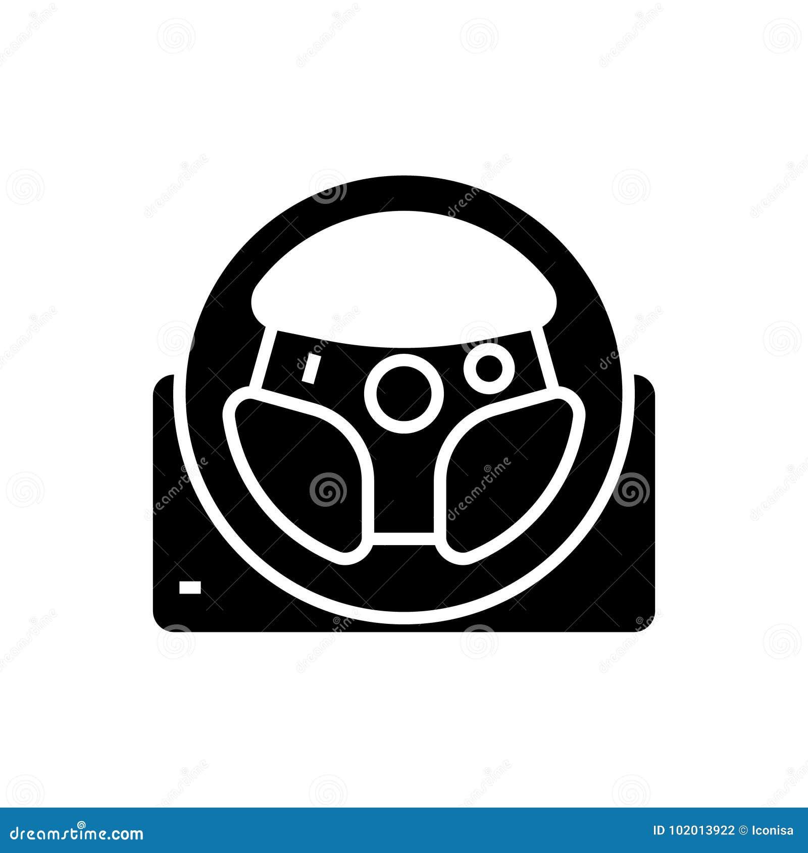 Ícone do volante do jogo, ilustração do vetor, sinal preto no fundo isolado