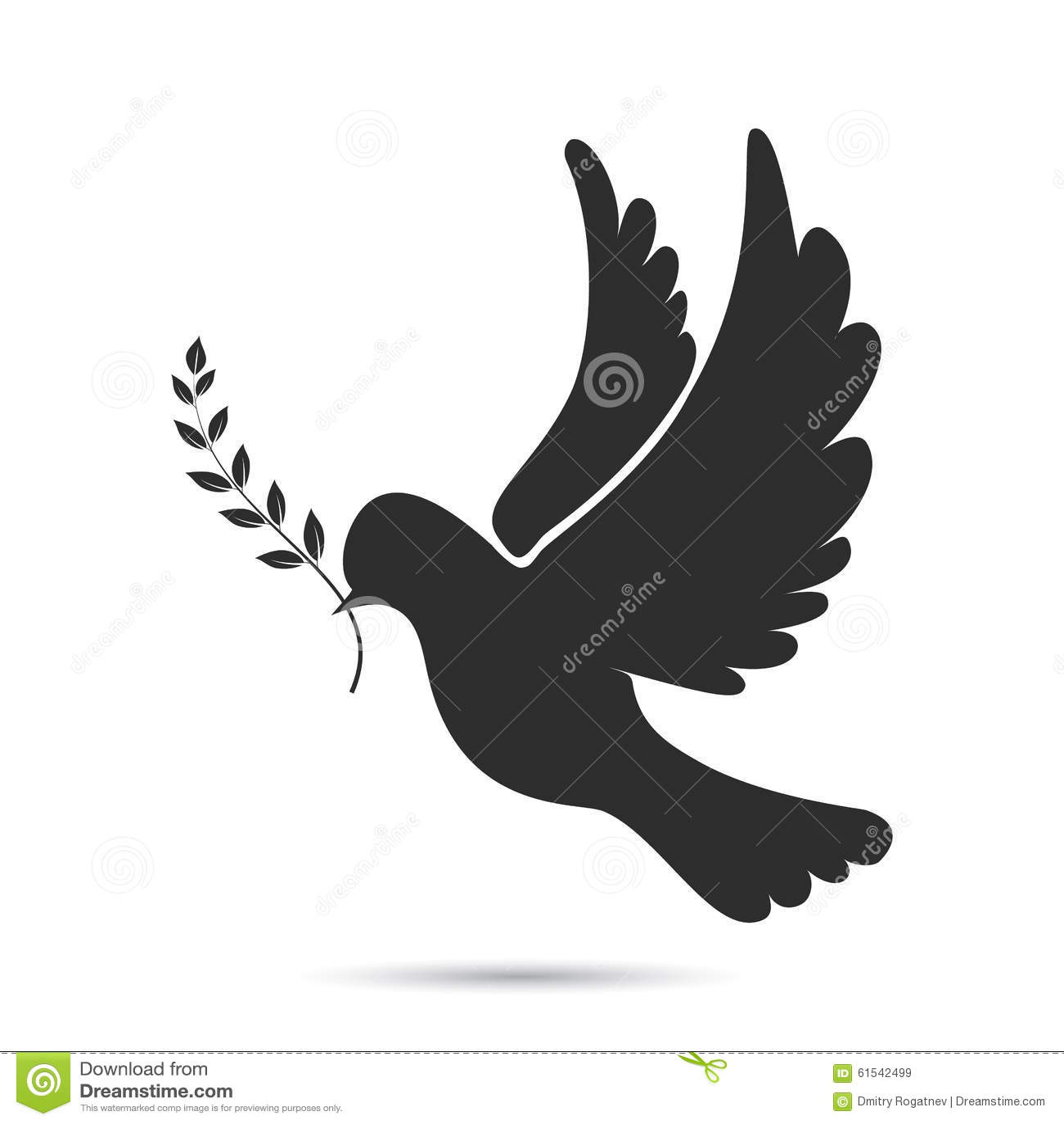 Ícone do voo da pomba com o galho verde-oliva em seu bico