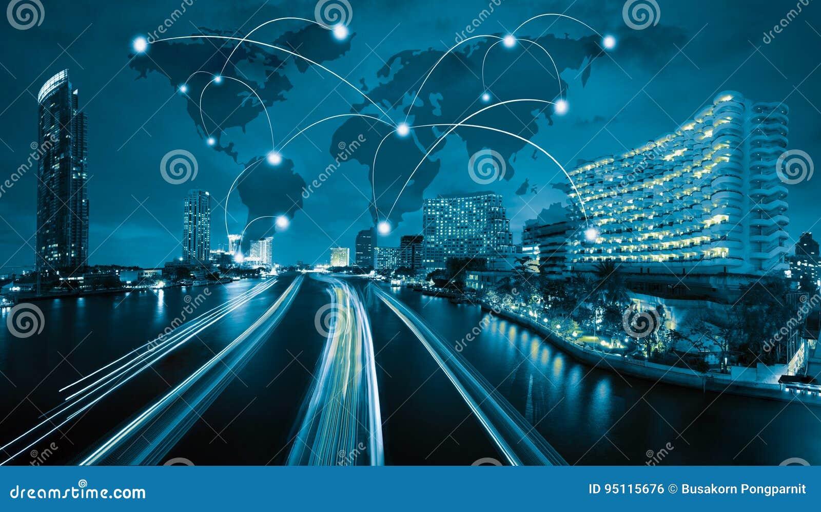 Ícone do wifi da rede de Gobal e da cidade conexão co de scape e de rede