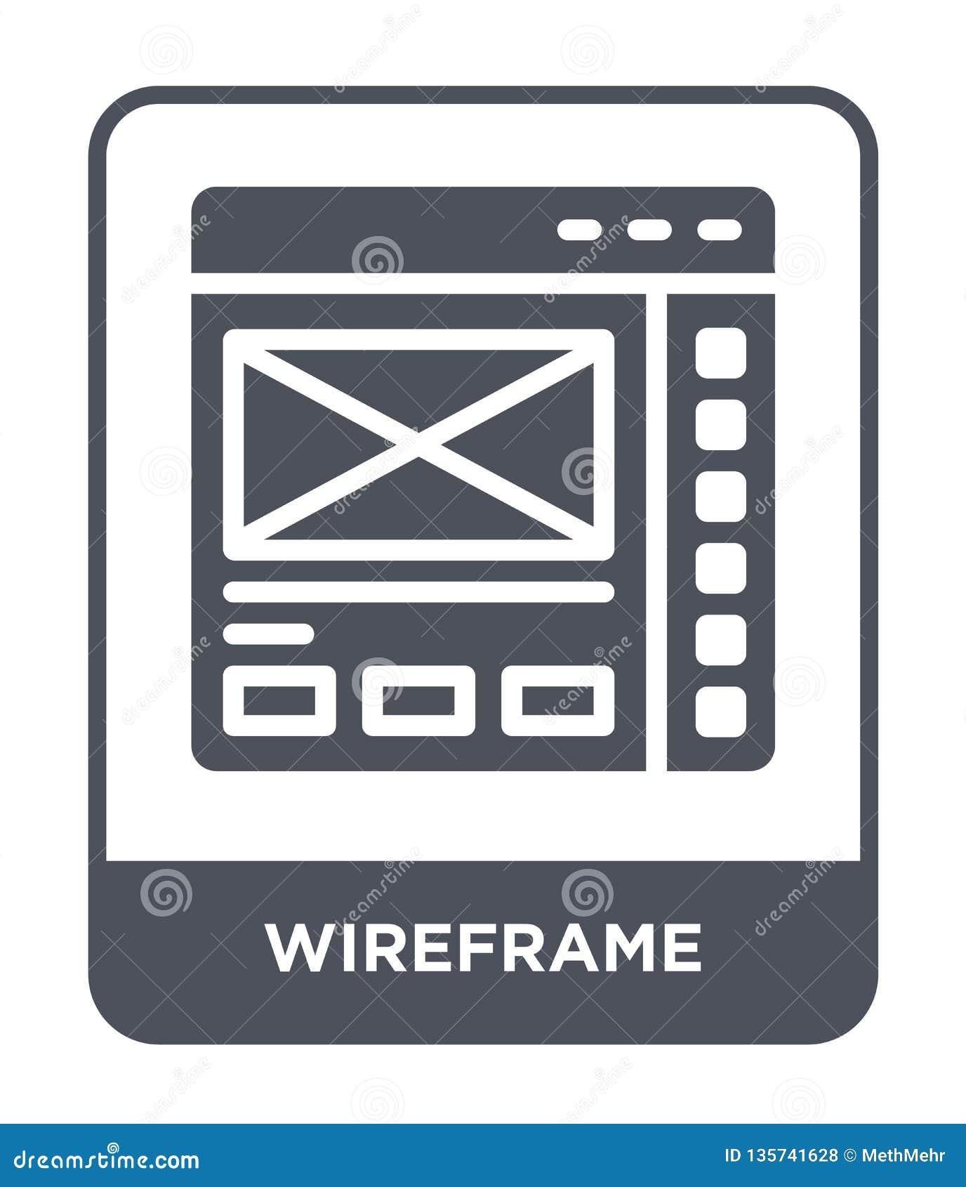 ícone do wireframe no estilo na moda do projeto Ícone de Wireframe isolado no fundo branco plano simples e moderno do ícone do ve