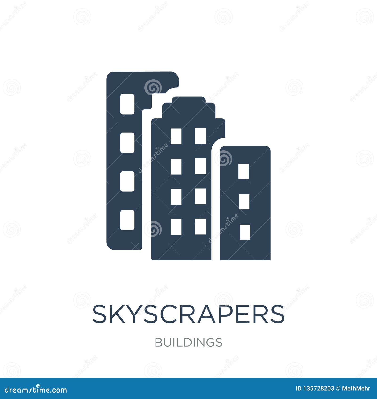 ícone dos arranha-céus no estilo na moda do projeto ícone dos arranha-céus isolado no fundo branco ícone do vetor dos arranha-céu