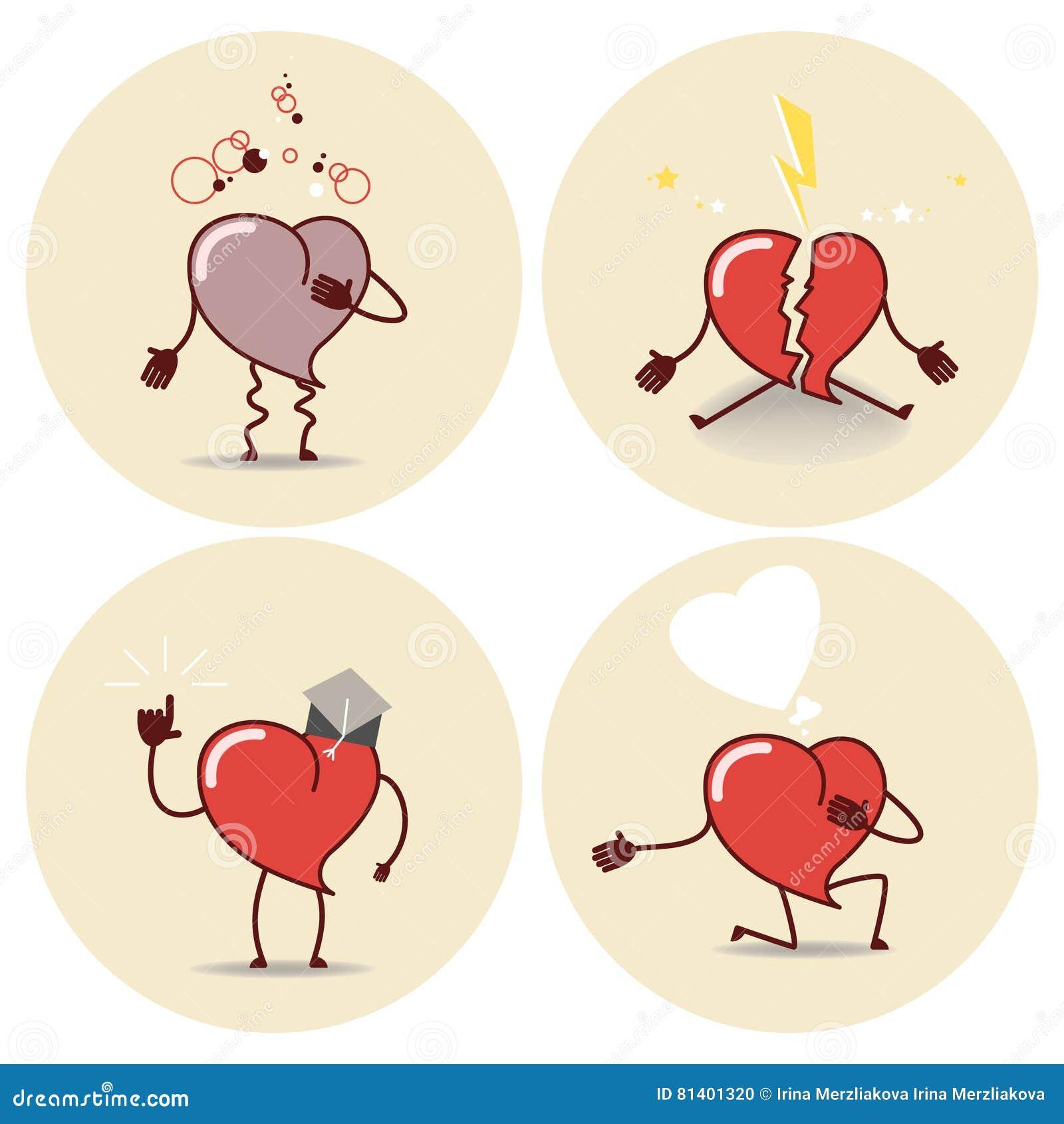 Icone Dos Desenhos Animados Do Coracao Cardiaco De Ataque Uma