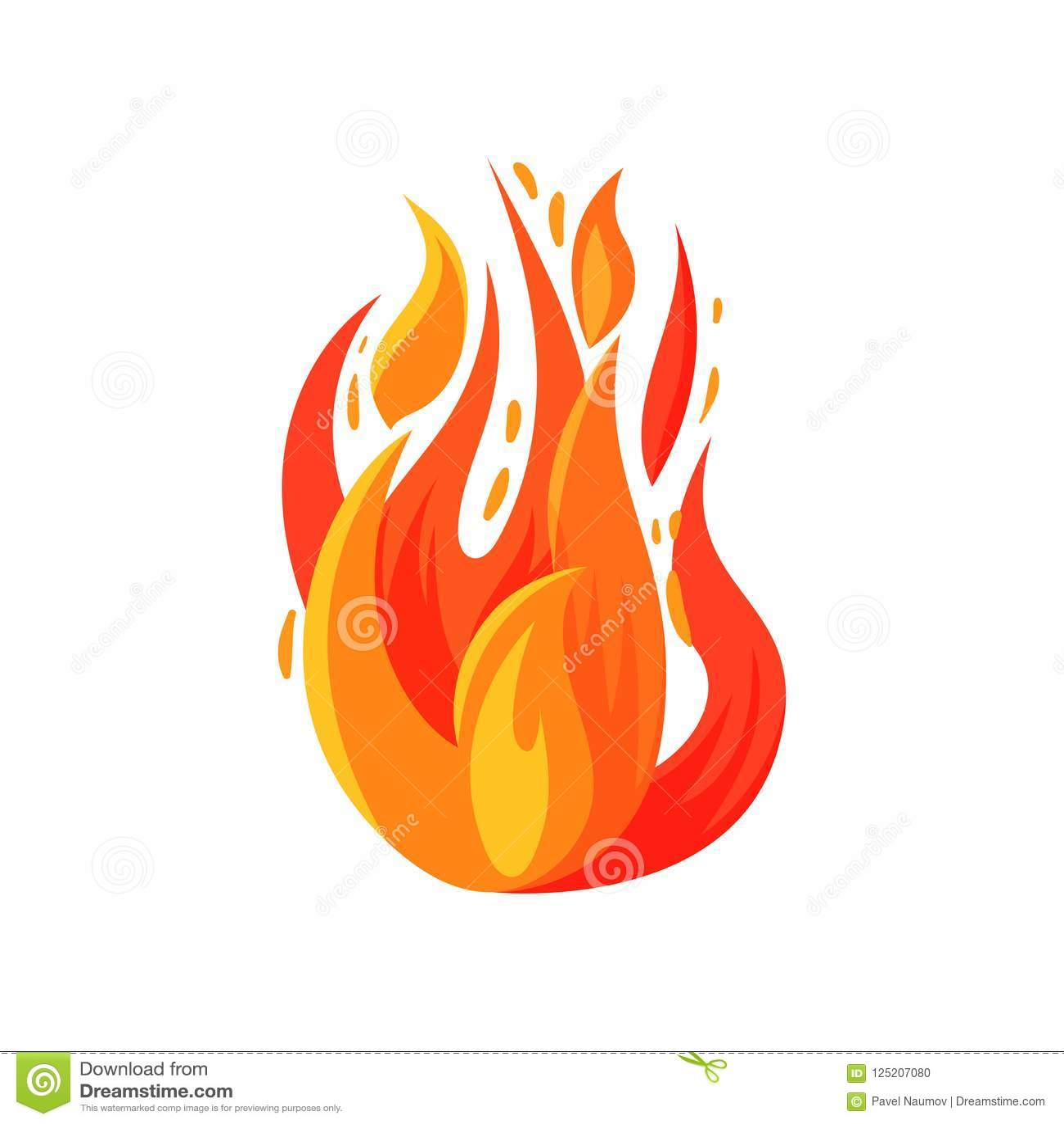 Ícone dos desenhos animados do fogo brilhantemente de ardência Fogueira ardente Chama vermelho-alaranjada brilhante Vetor liso pa