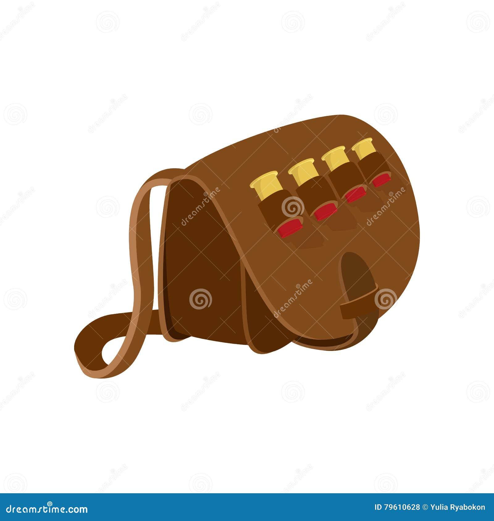 Ícone dos desenhos animados do saco de couro do caçador