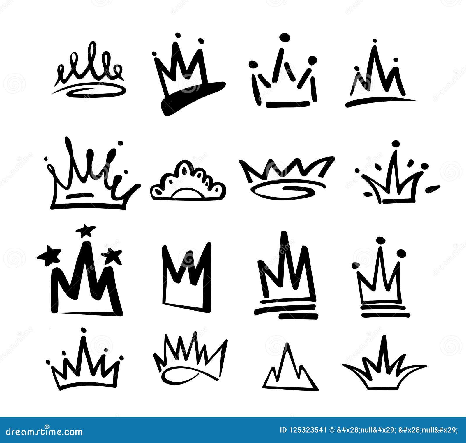 Ícone dos grafittis do logotipo da coroa Elementos pretos isolados no fundo branco Ilustração do vetor Princesa real da rainha Li