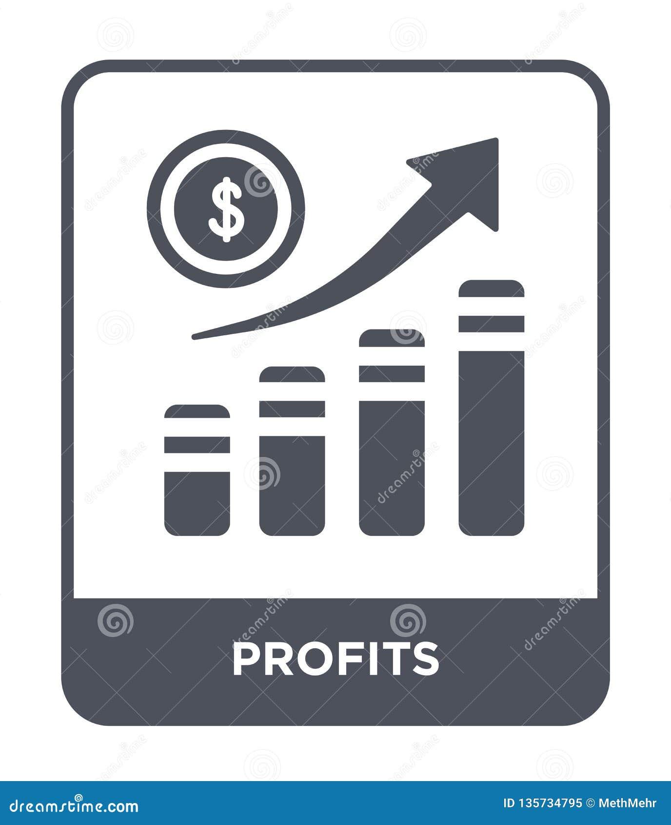 ícone dos lucros no estilo na moda do projeto ícone dos lucros isolado no fundo branco símbolo liso simples e moderno do ícone do