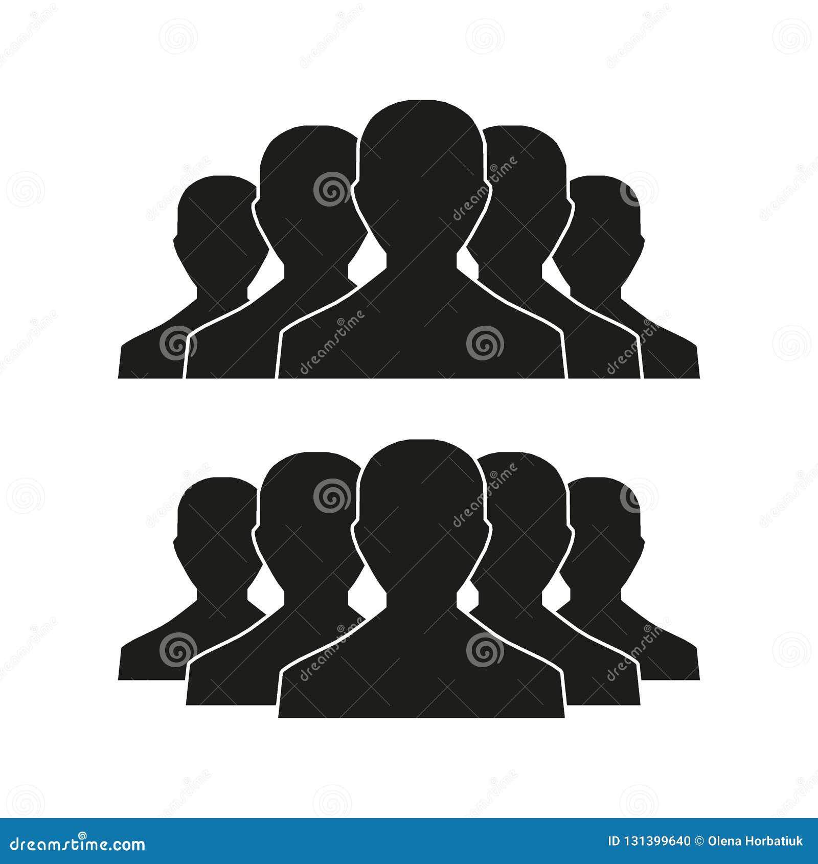 Ícone dos povos ajustado no estilo liso na moda isolado no fundo claro com sombra Sinais da multidão Símbolo das pessoas para seu
