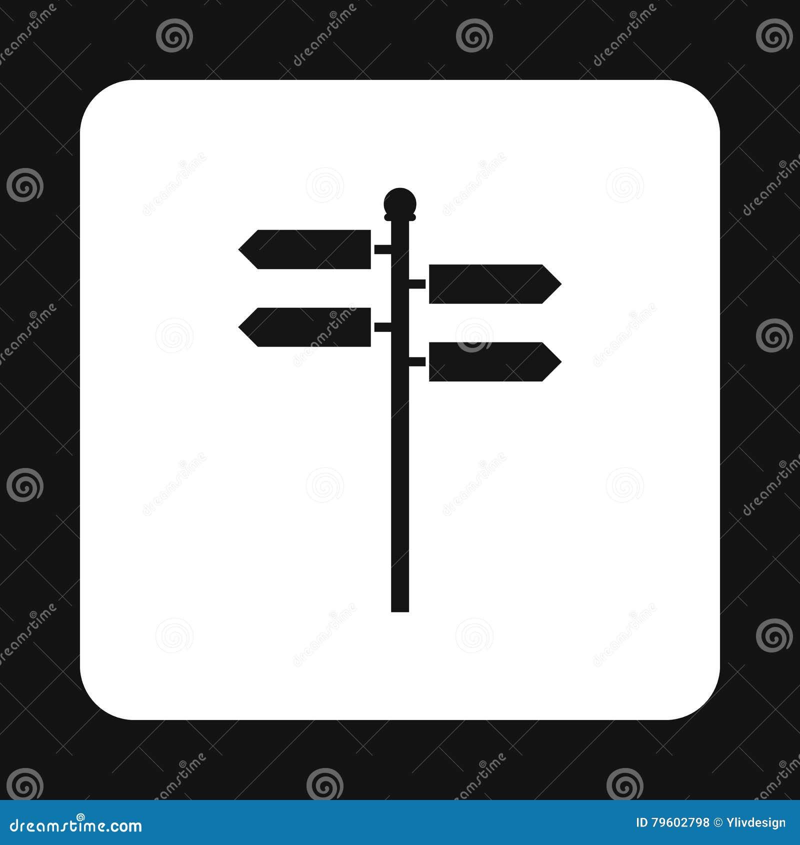 Ícone dos sinais de sentido, estilo simples