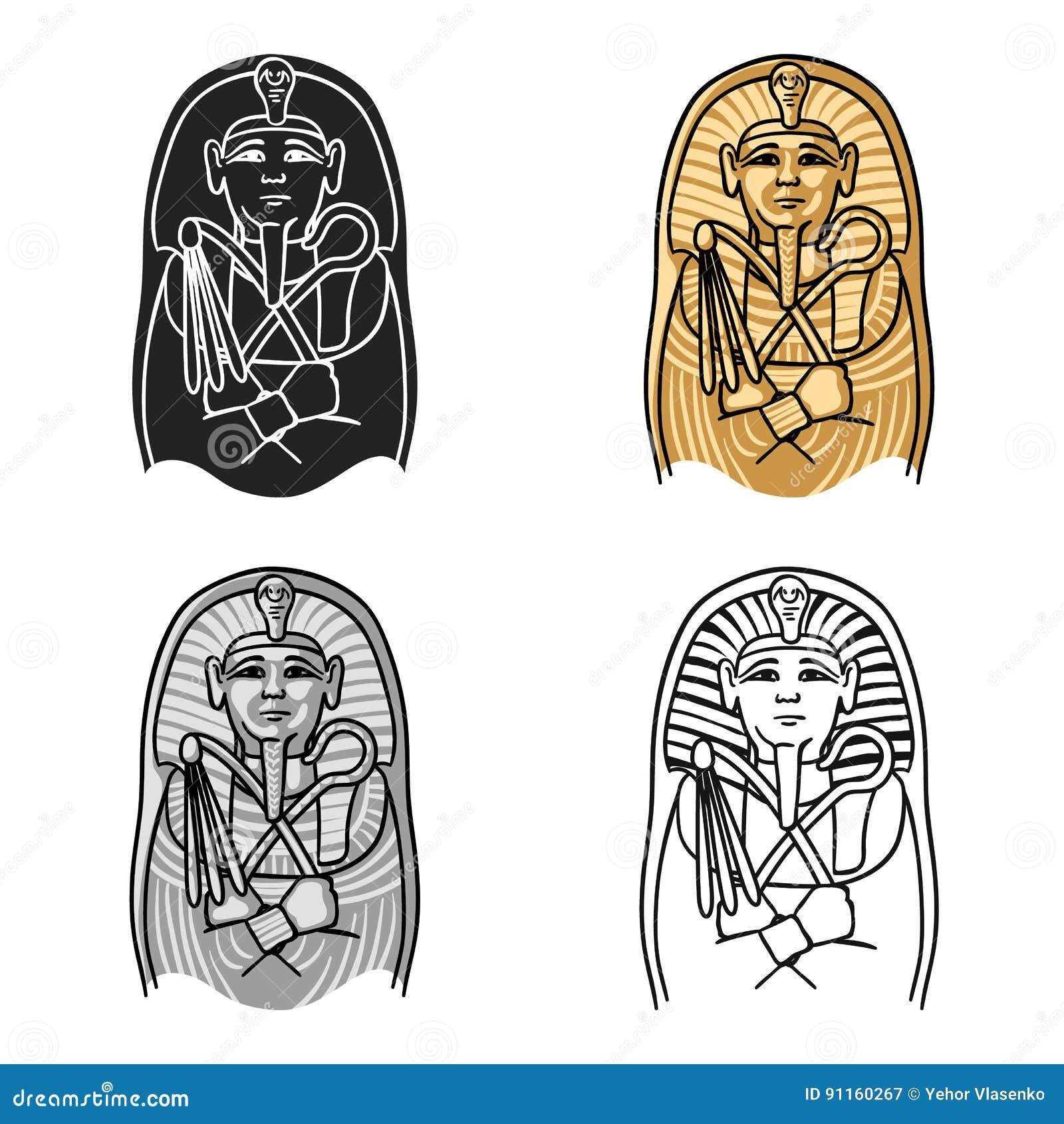 Icone Egipcio Do Sarcofago Do Farao No Estilo Dos Desenhos