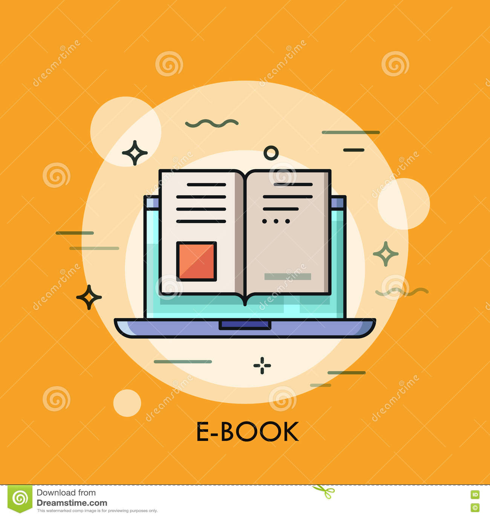 Ícone eletrônico do livro, conceito digital da leitura