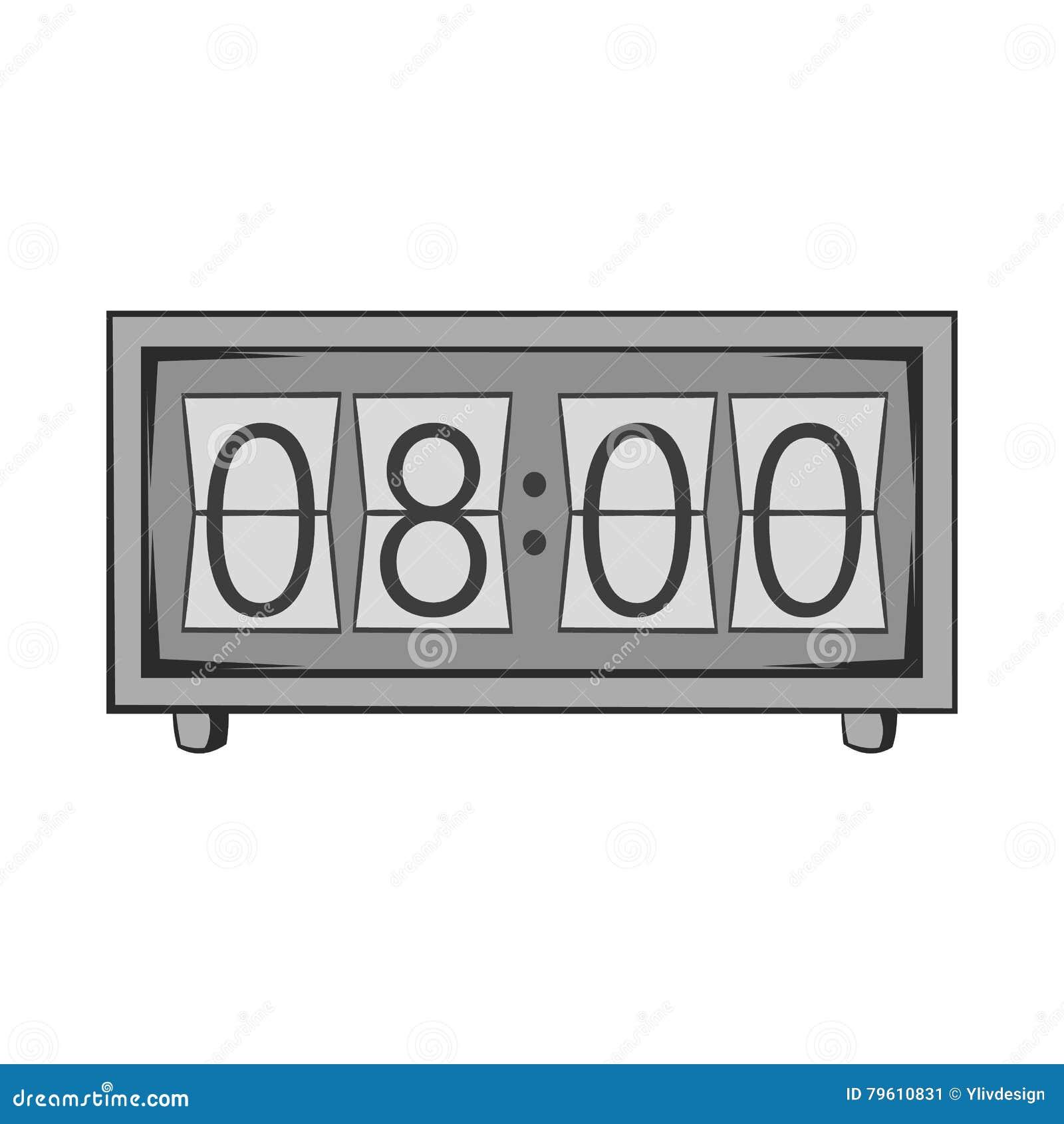 Ícone eletrônico do relógio, estilo monocromático preto