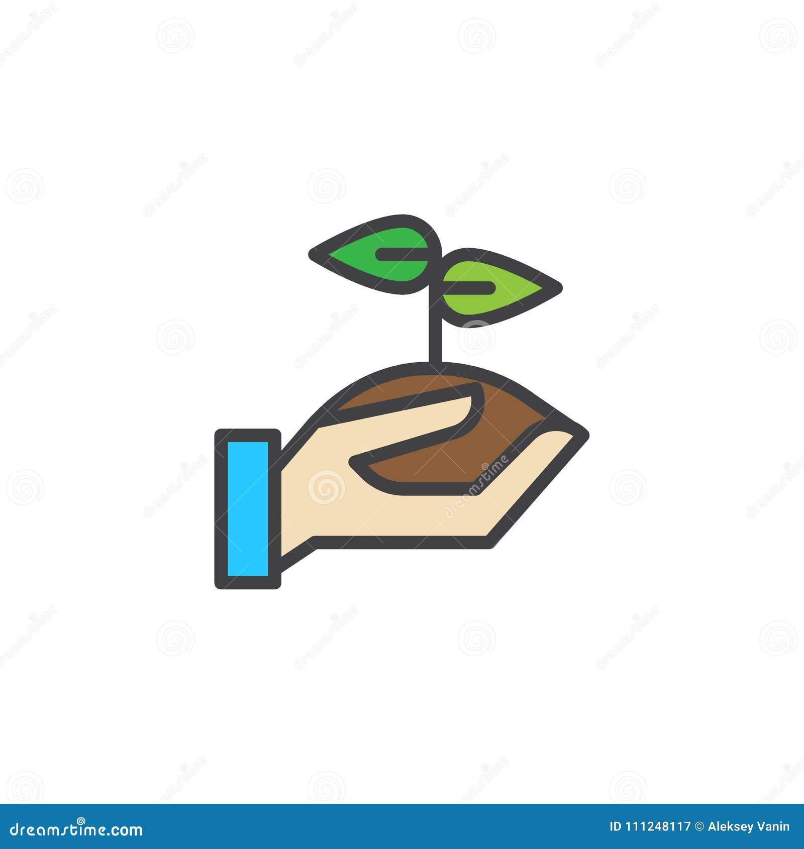 Ícone enchido broto do esboço da terra arrendada da mão