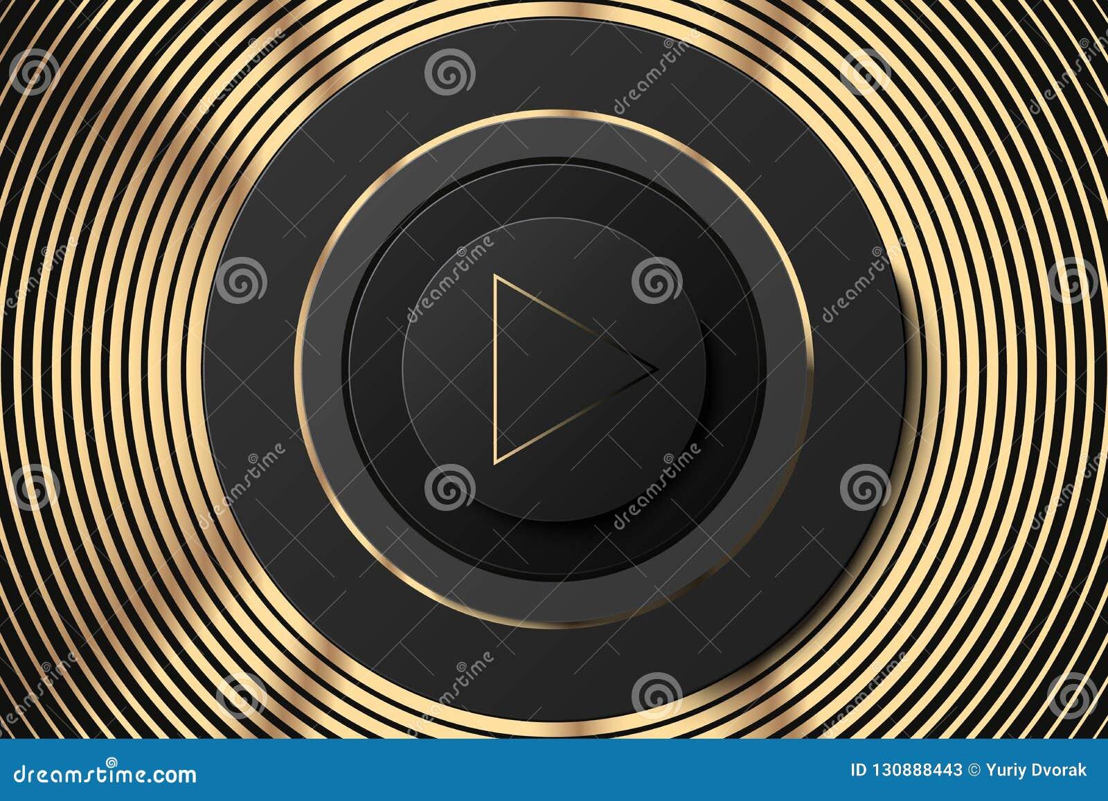 Ícone escuro do círculo do vetor com botão do jogo Preto e ilustração do orador do ouro Fundo dourado preto da música