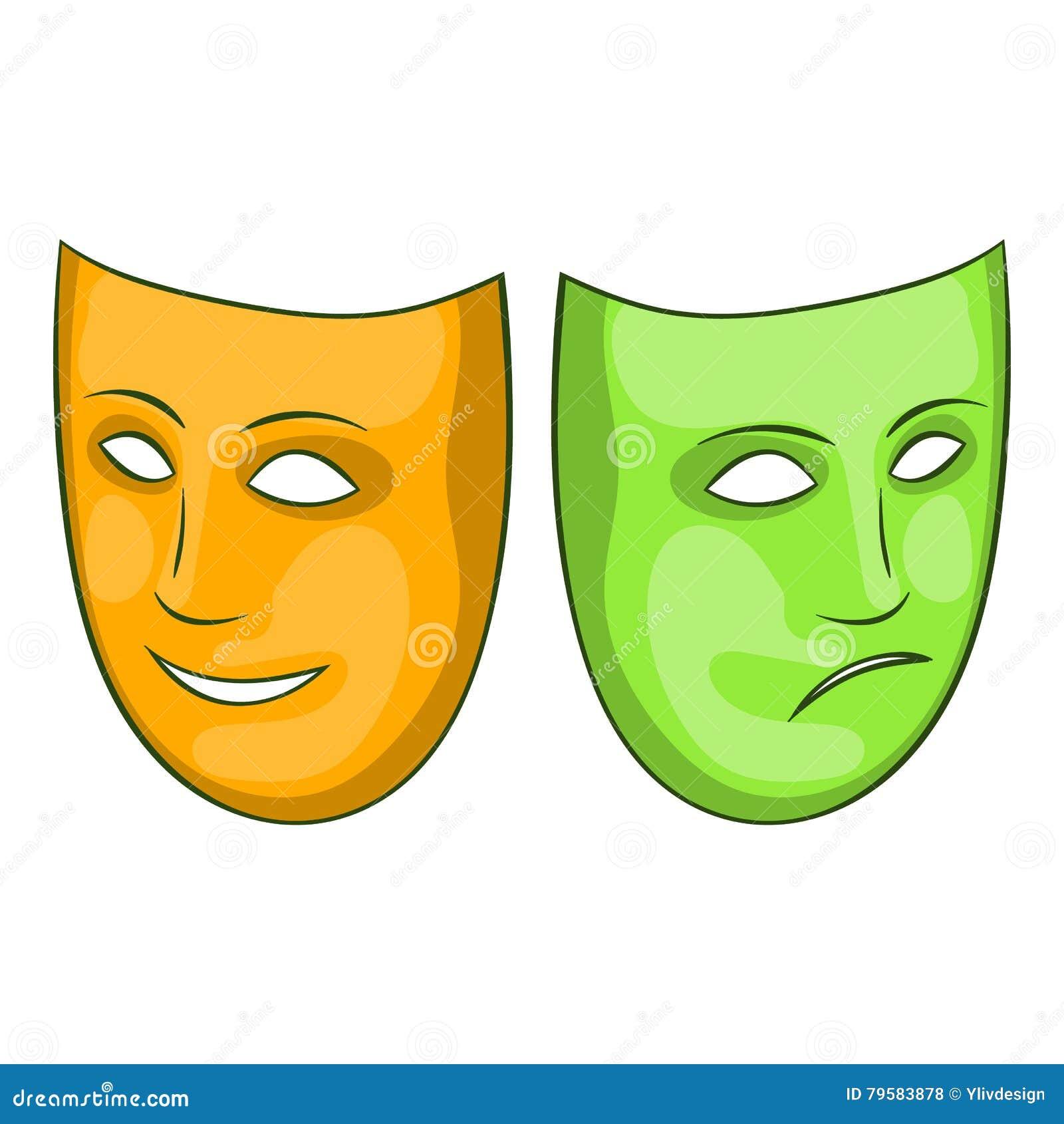 Icone Feliz E Triste Da Mascara Estilo Dos Desenhos Animados