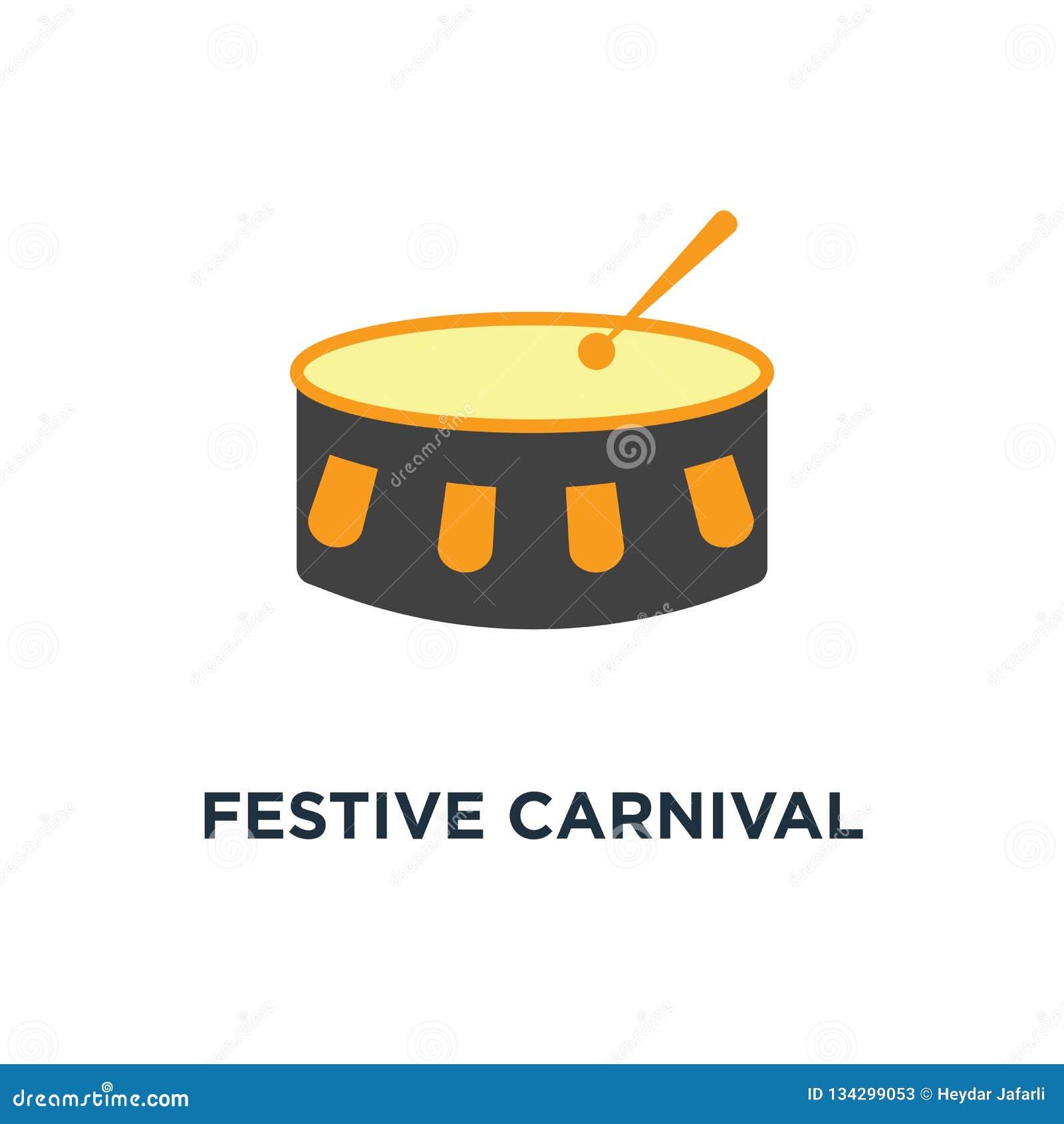 ícone festivo dos cilindros do carnaval symb festivo do conceito dos cilindros do carnaval