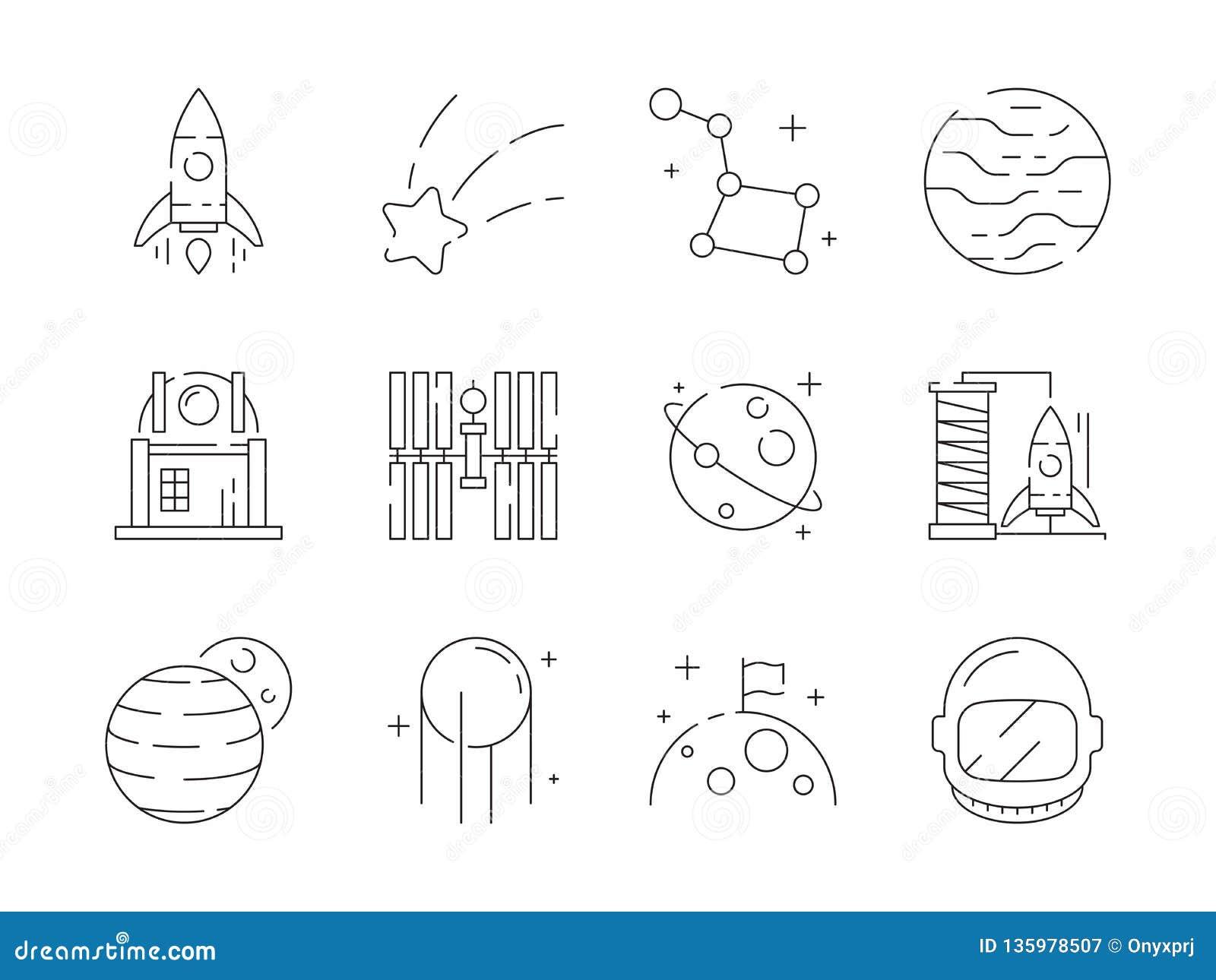 Ícone fino do espaço As estrelas do obervatório do foguete do astronauta da descoberta da terra do universo encurtam os símbolos