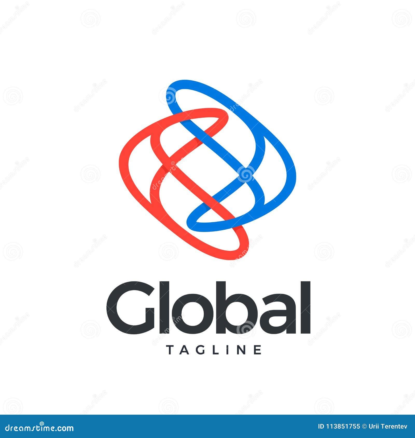 Ícone global na cor azul e vermelha