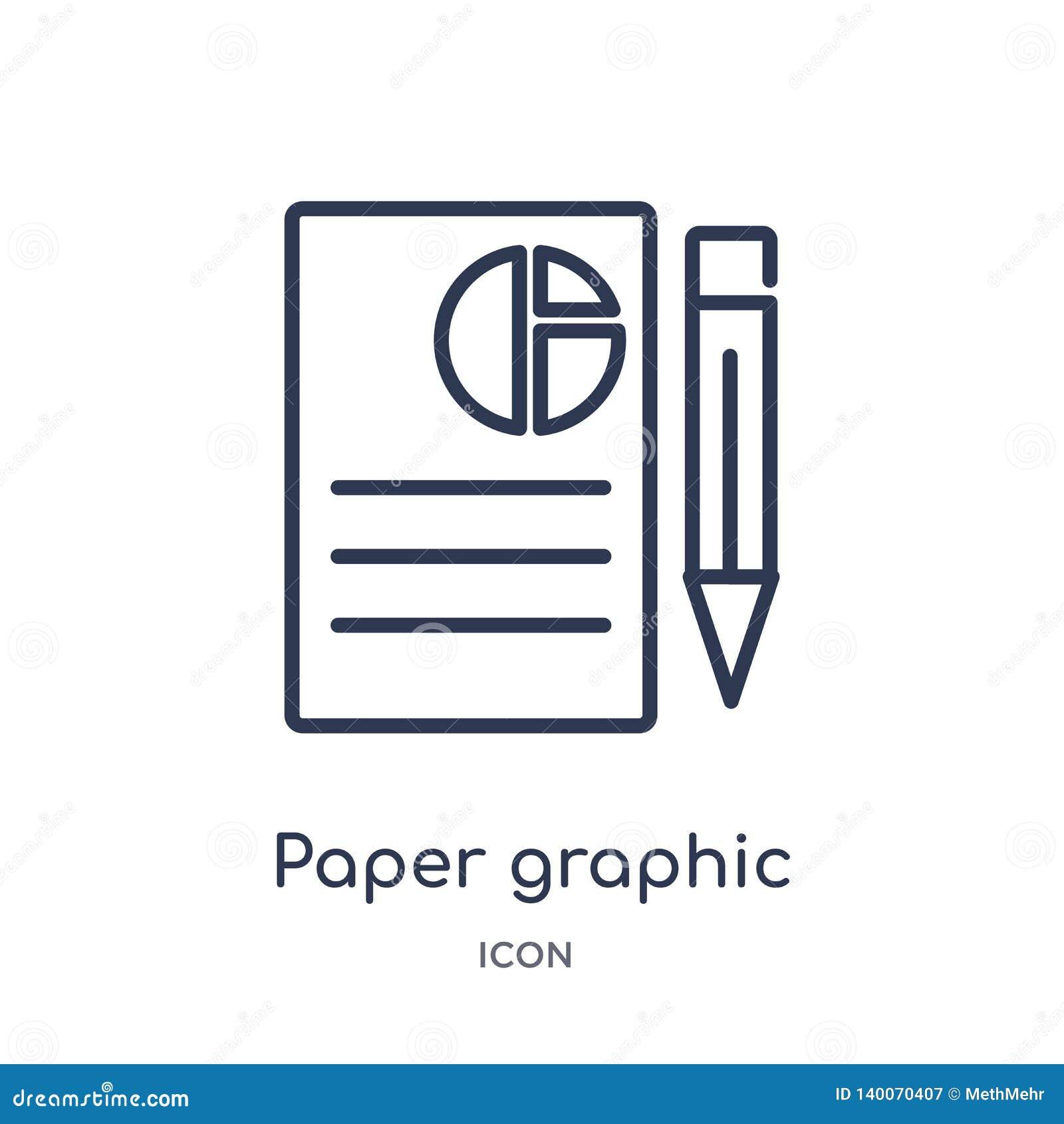 Ícone gráfico de papel linear da coleção do esboço do negócio Linha fina ícone gráfico do papel isolado no fundo branco Papel