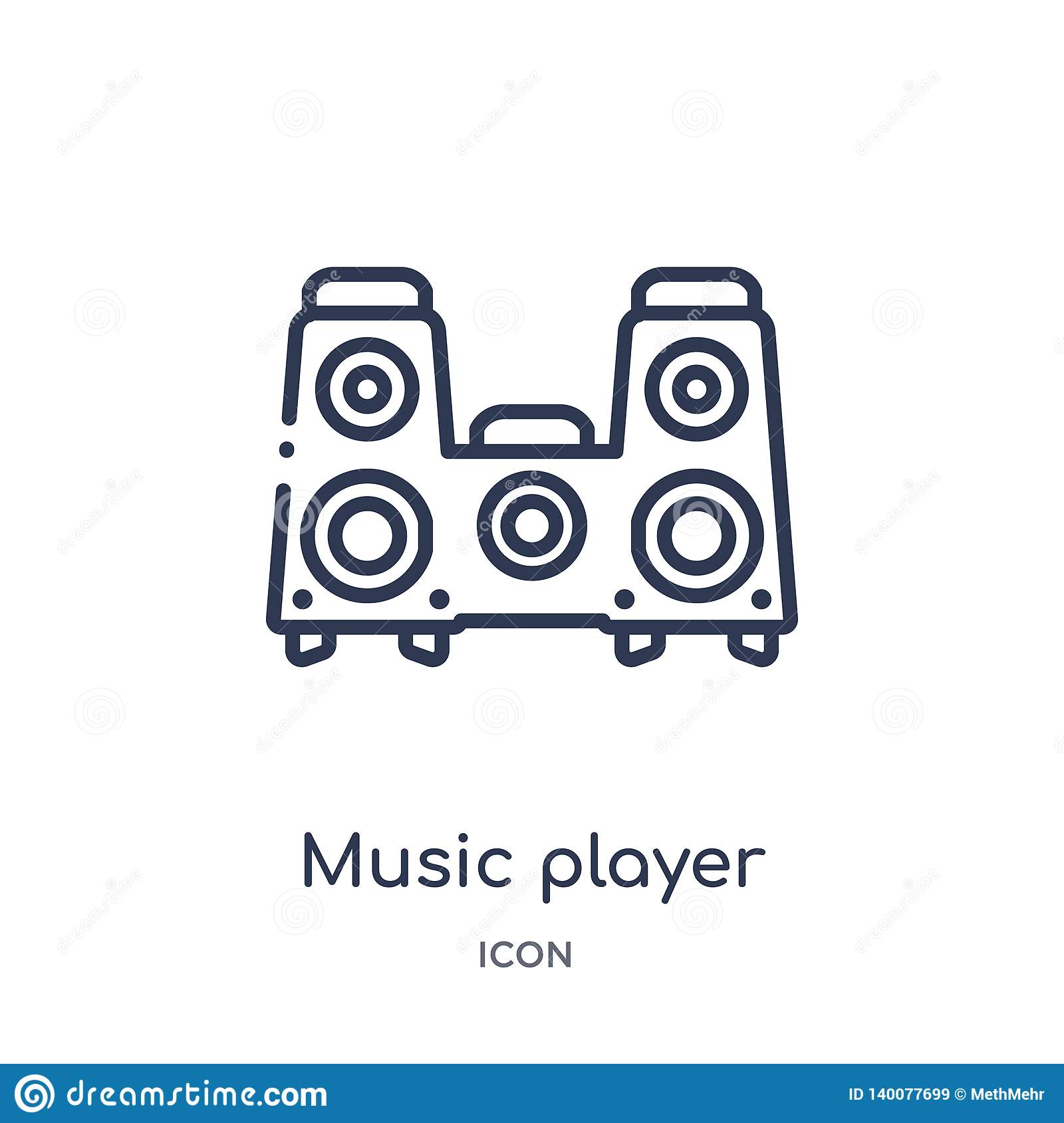 ícone grande do orador do jogador de música da coleção do esboço da tecnologia Linha fina ícone grande do orador do jogador de mú