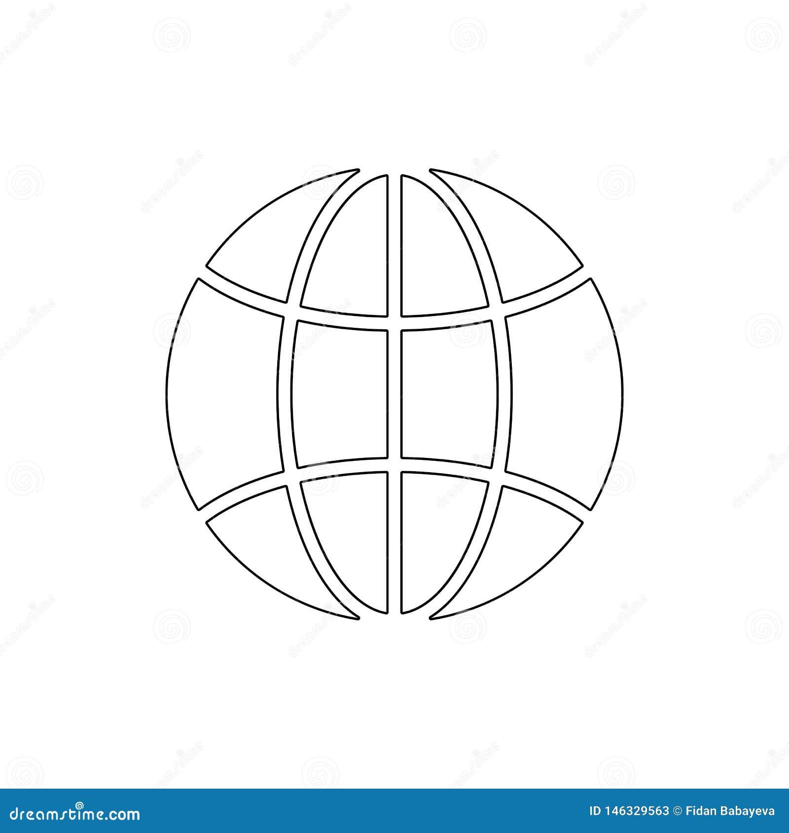 Ícone internacional do esboço do Internet do mundo do planeta do globo global da terra Os sinais e os s?mbolos podem ser usados p