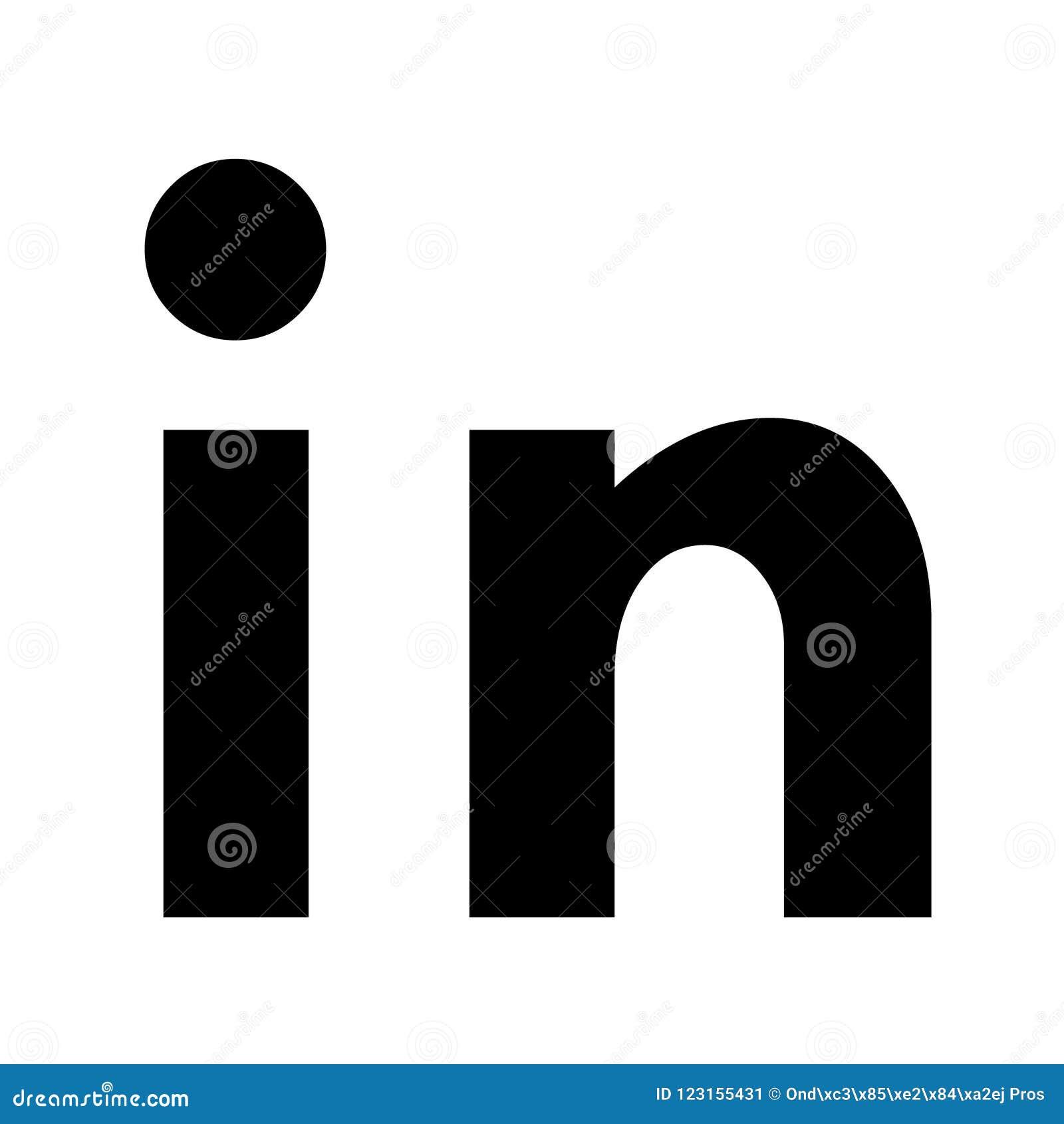 Ícone islolated vetor de Linkedin Logotipo social dos meios, símbolo