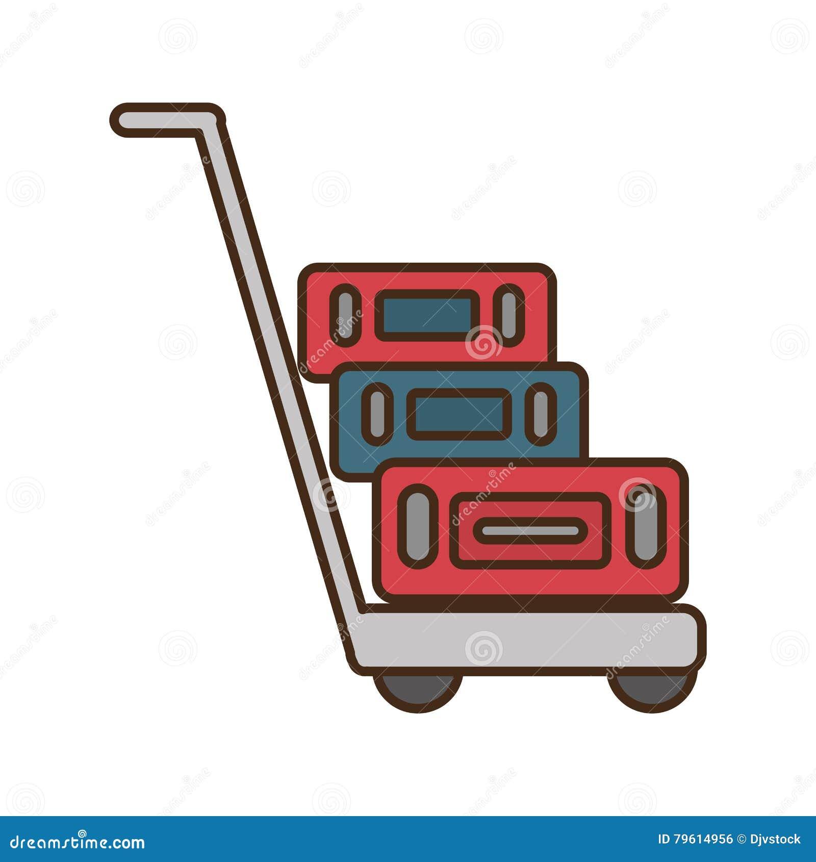 Ícone isolado carro do transporte das malas de viagem