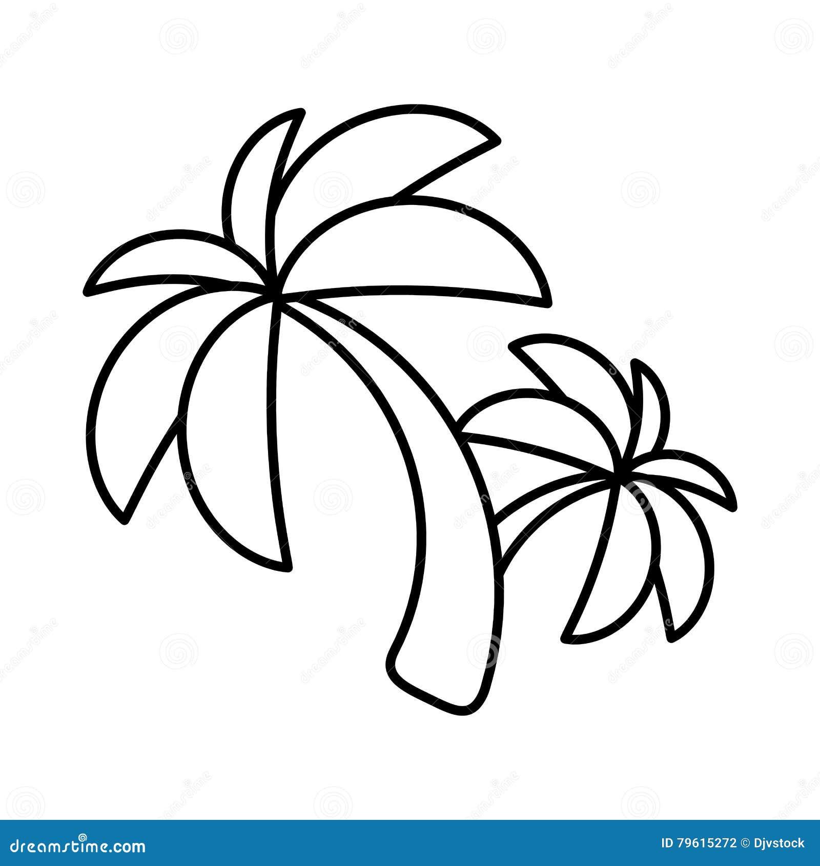 Ícone isolado Palm Beach da árvore