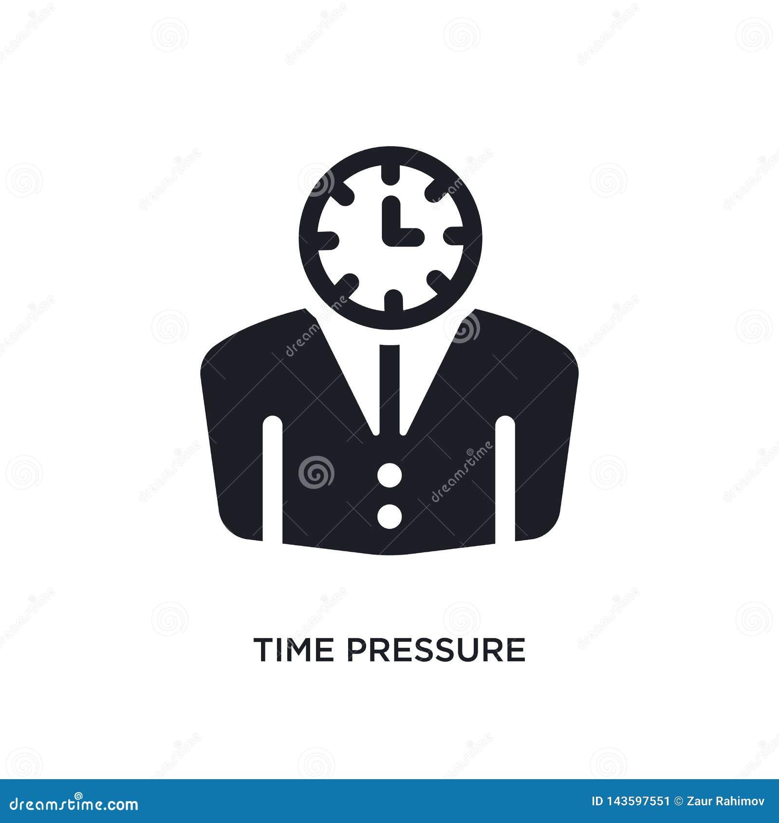 ícone isolado preto do vetor da pressão de tempo ilustração simples do elemento dos ícones do vetor do conceito da gestão de temp