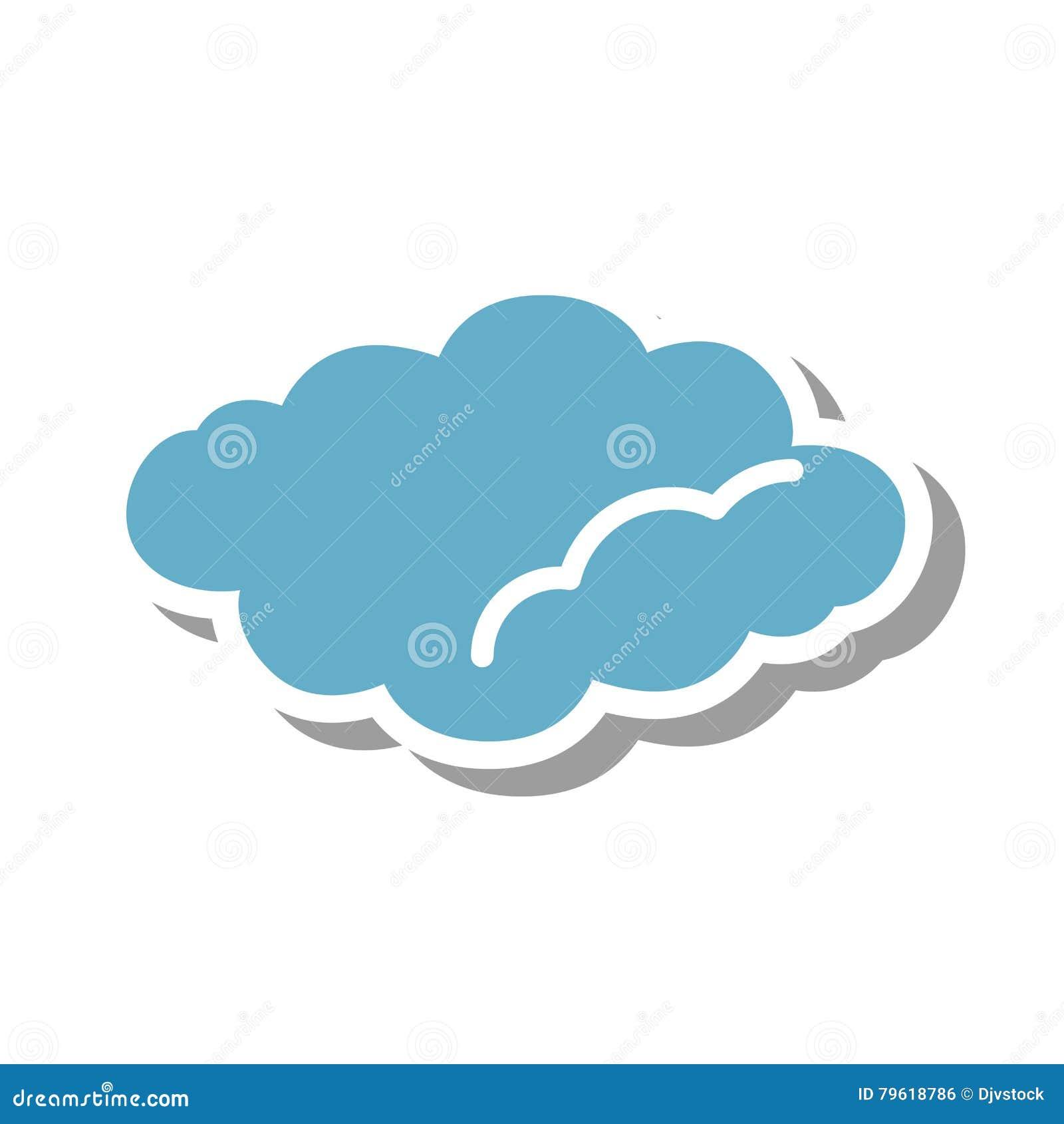 Ícone isolado silhueta da nuvem
