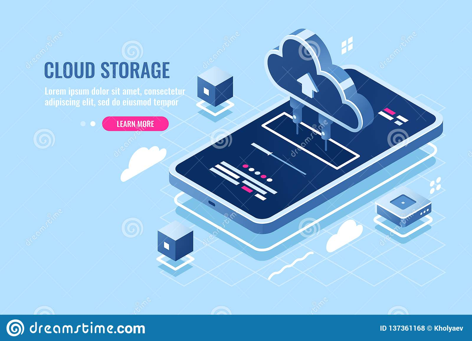 Ícone isométrico da aplicação móvel, arquivo da transferência no smartphone do armazenamento do servidor da nuvem, backup de dado