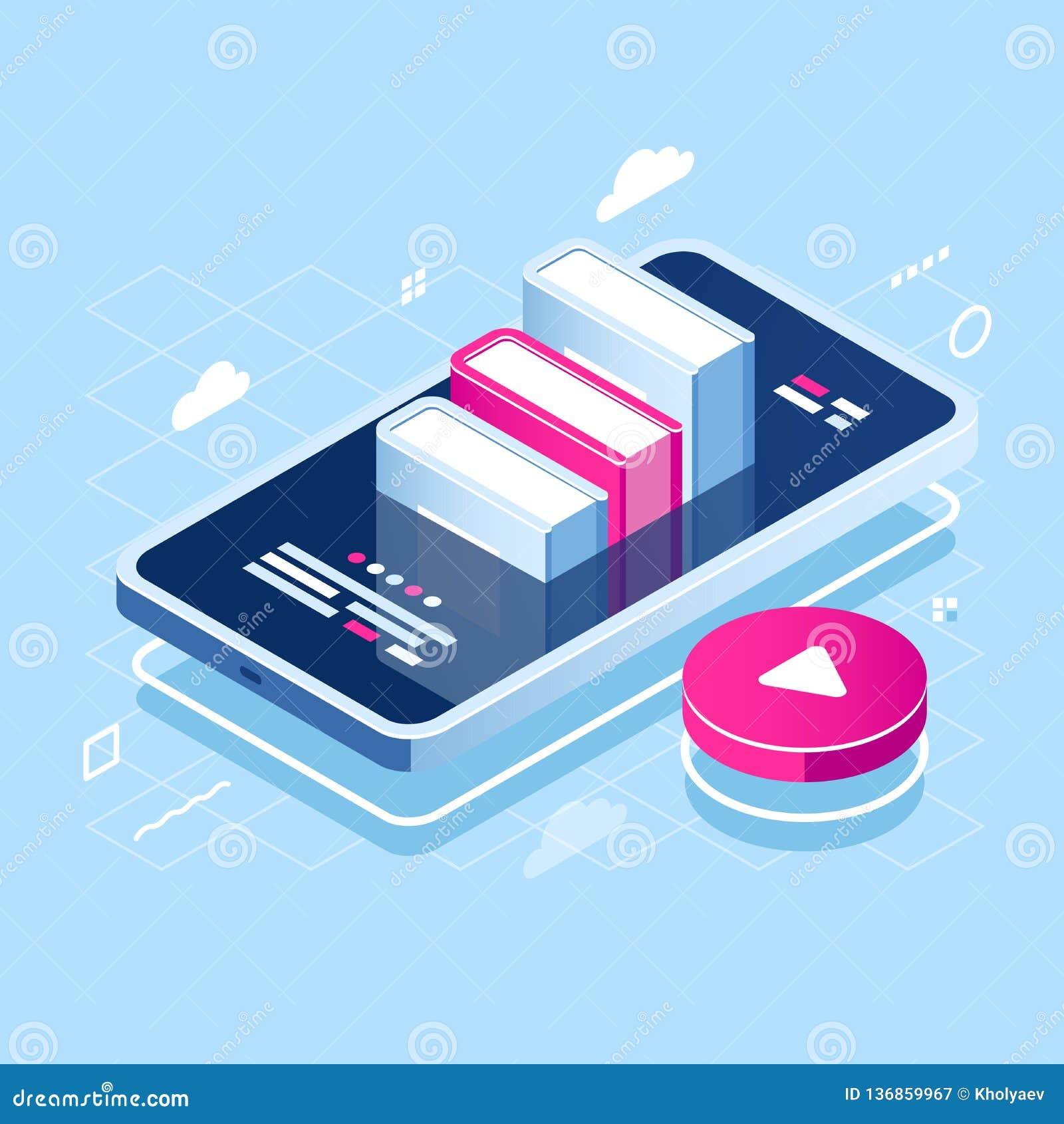 Ícone isométrico do conceito de Audiobook, aprendendo em linha, pilha do livro na tela do telefone celular, curso do Internet, cu
