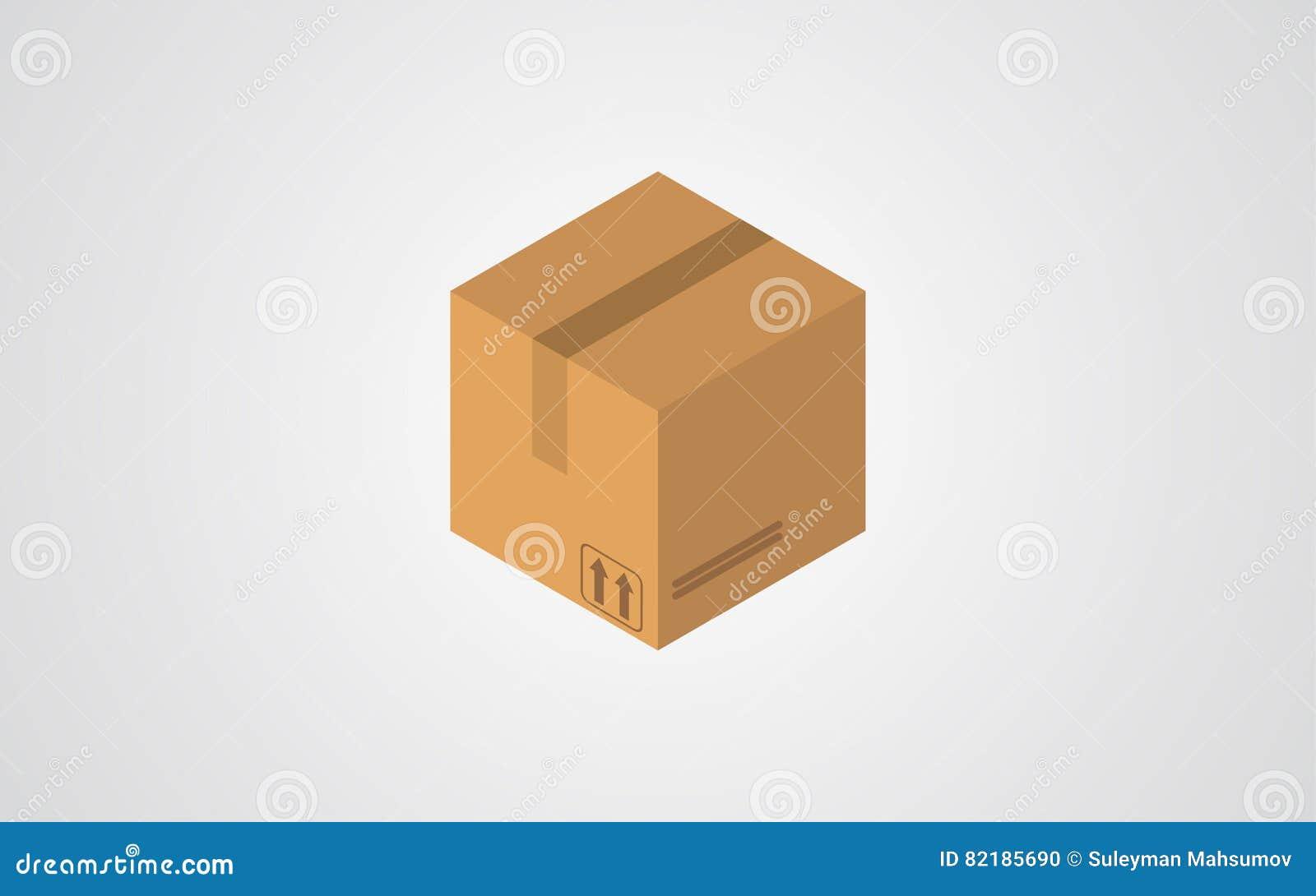 Ícone isométrico do vetor da caixa
