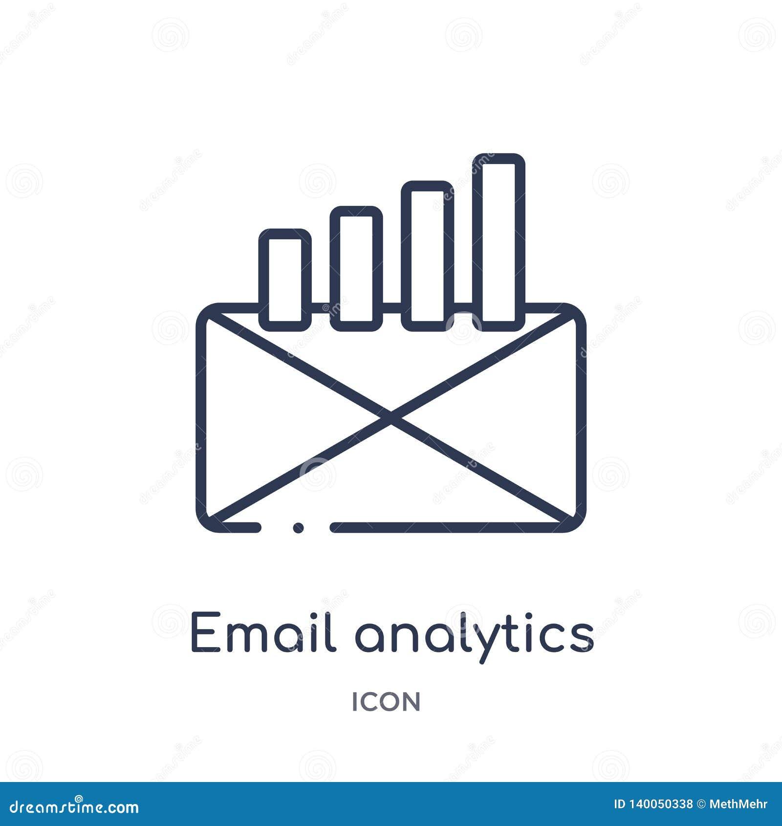 Ícone linear da analítica do e-mail da coleção do esboço do negócio e da analítica Linha fina vetor da analítica do e-mail isolad